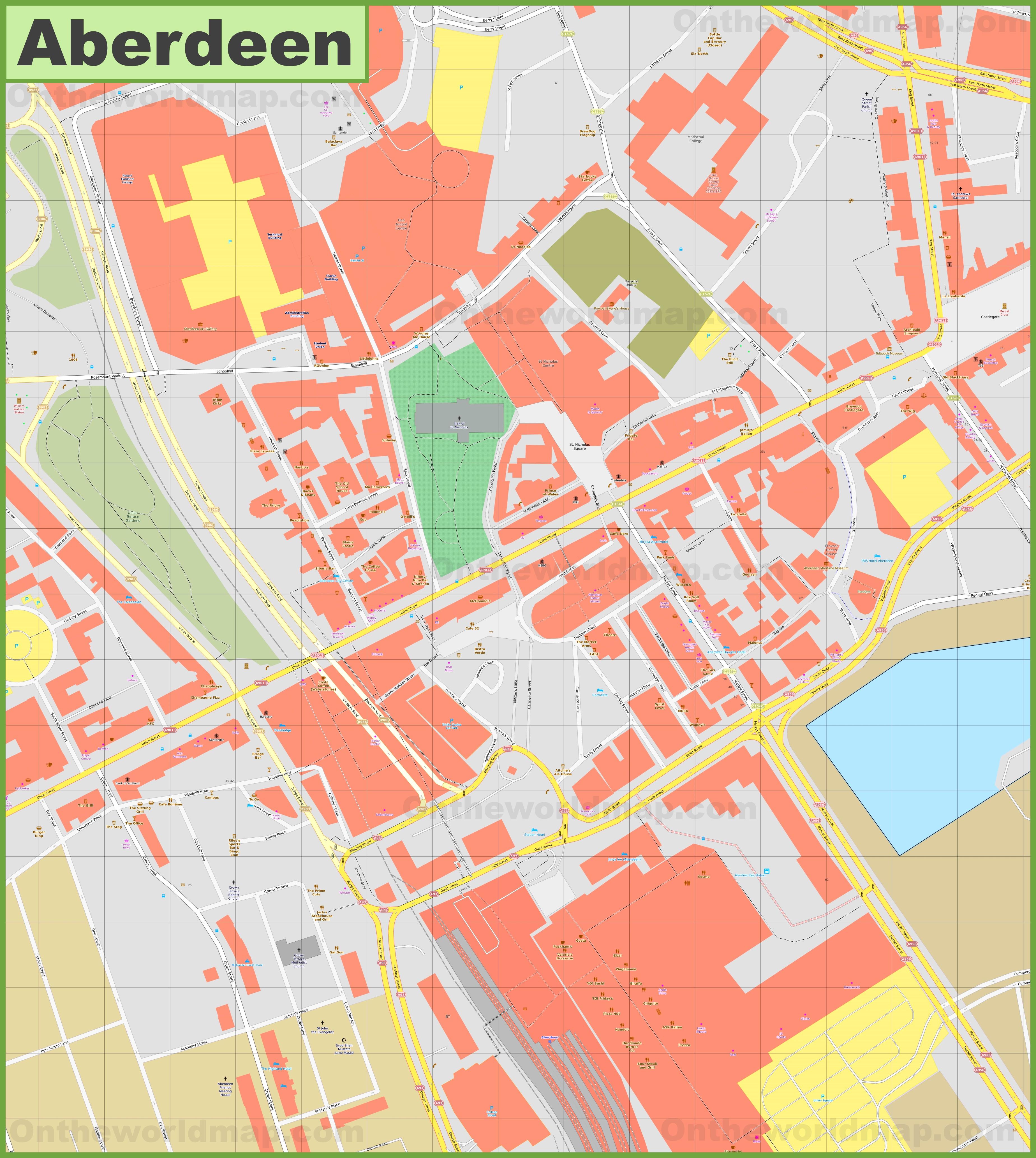 Aberdeen city center map