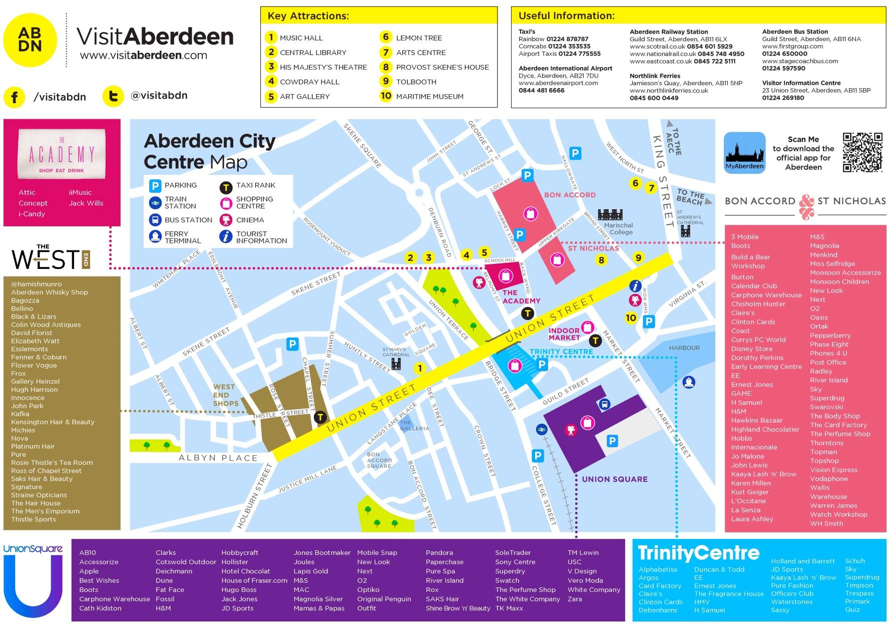 Aberdeen tourist map