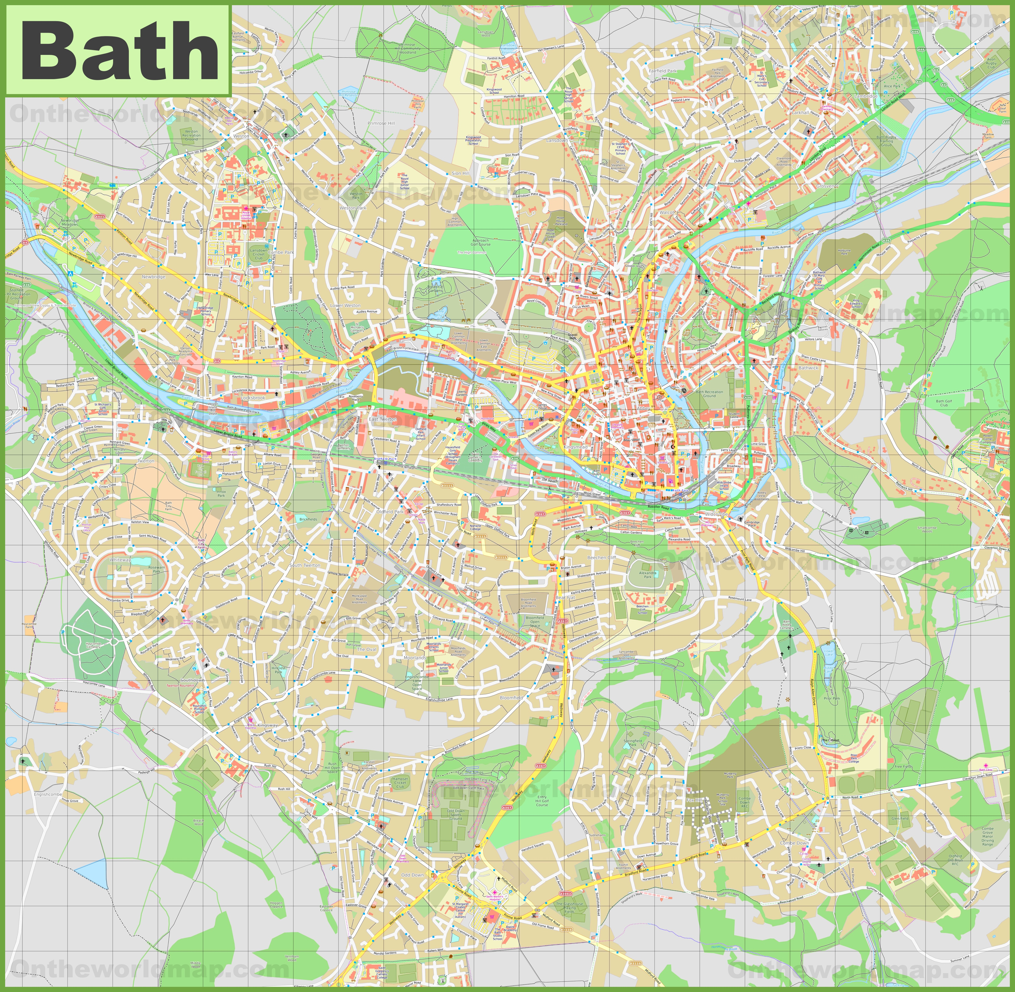 Detailed map of Bath