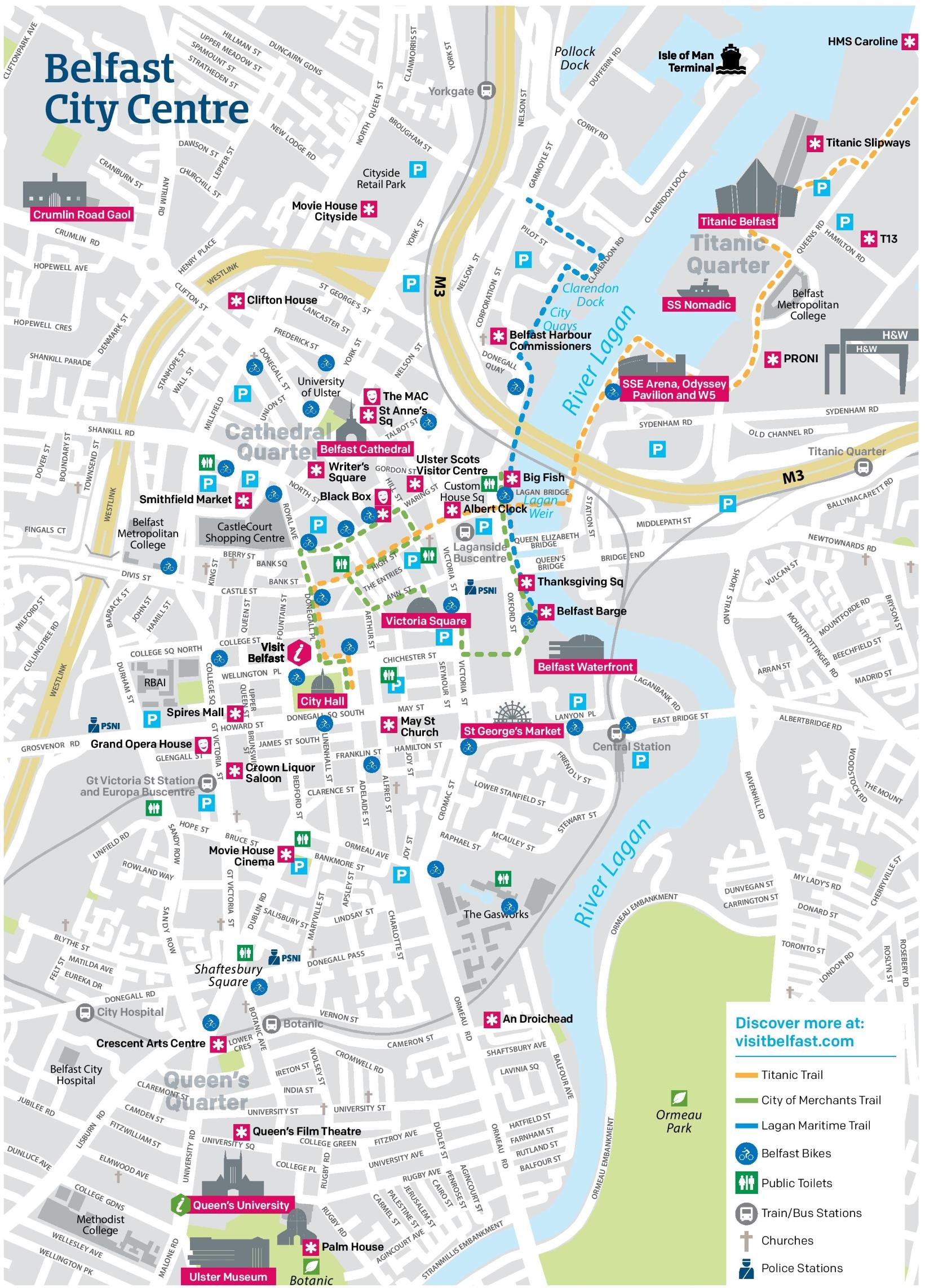 Map Of Belfast Belfast city center map Map Of Belfast