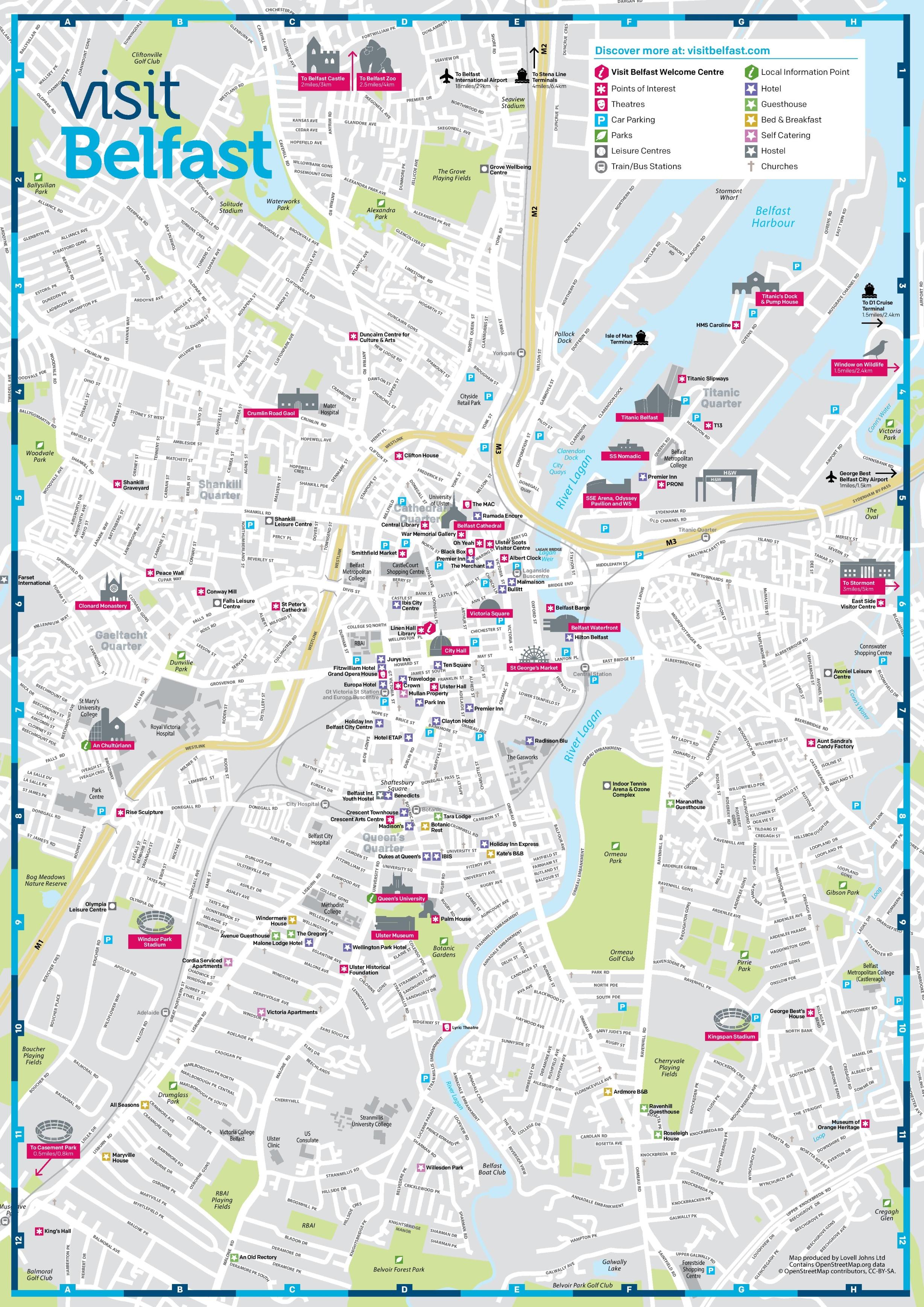 Map Of Belfast Belfast sightseeing map Map Of Belfast