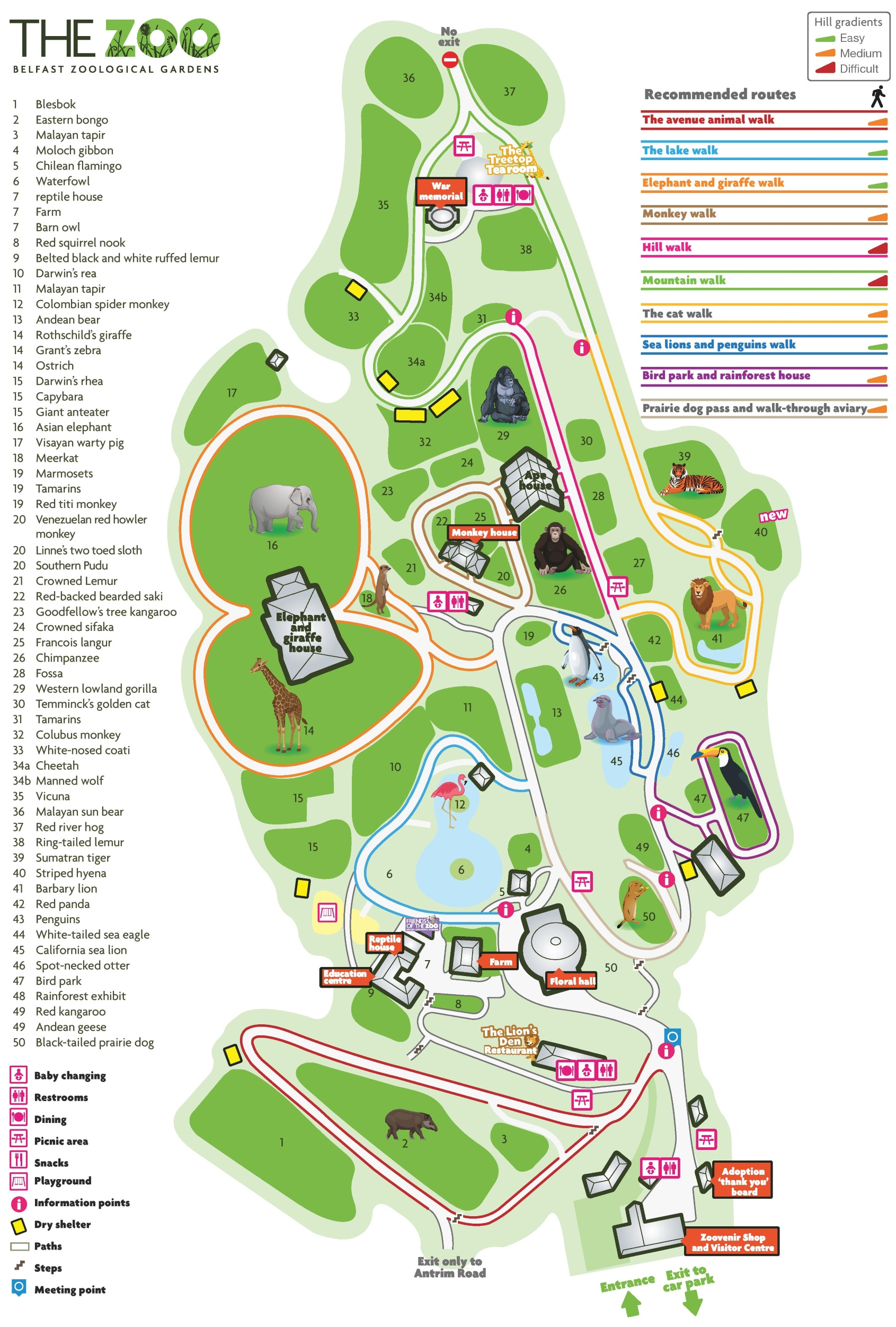 Belfast Zoo map