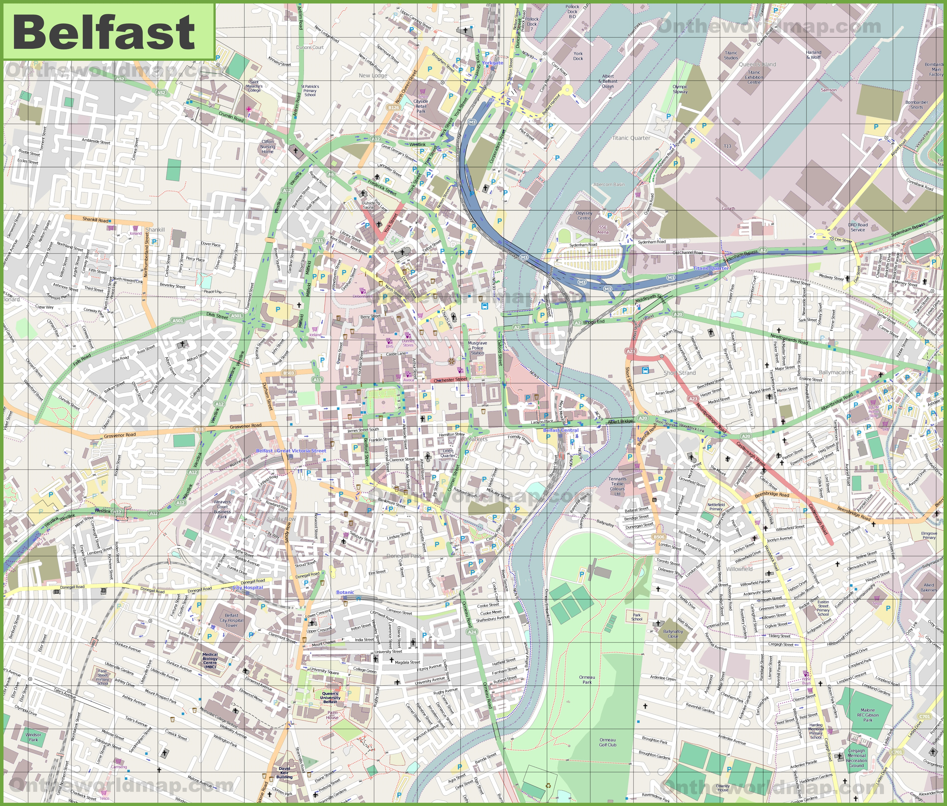 Map Of Belfast Large detailed map of Belfast Map Of Belfast