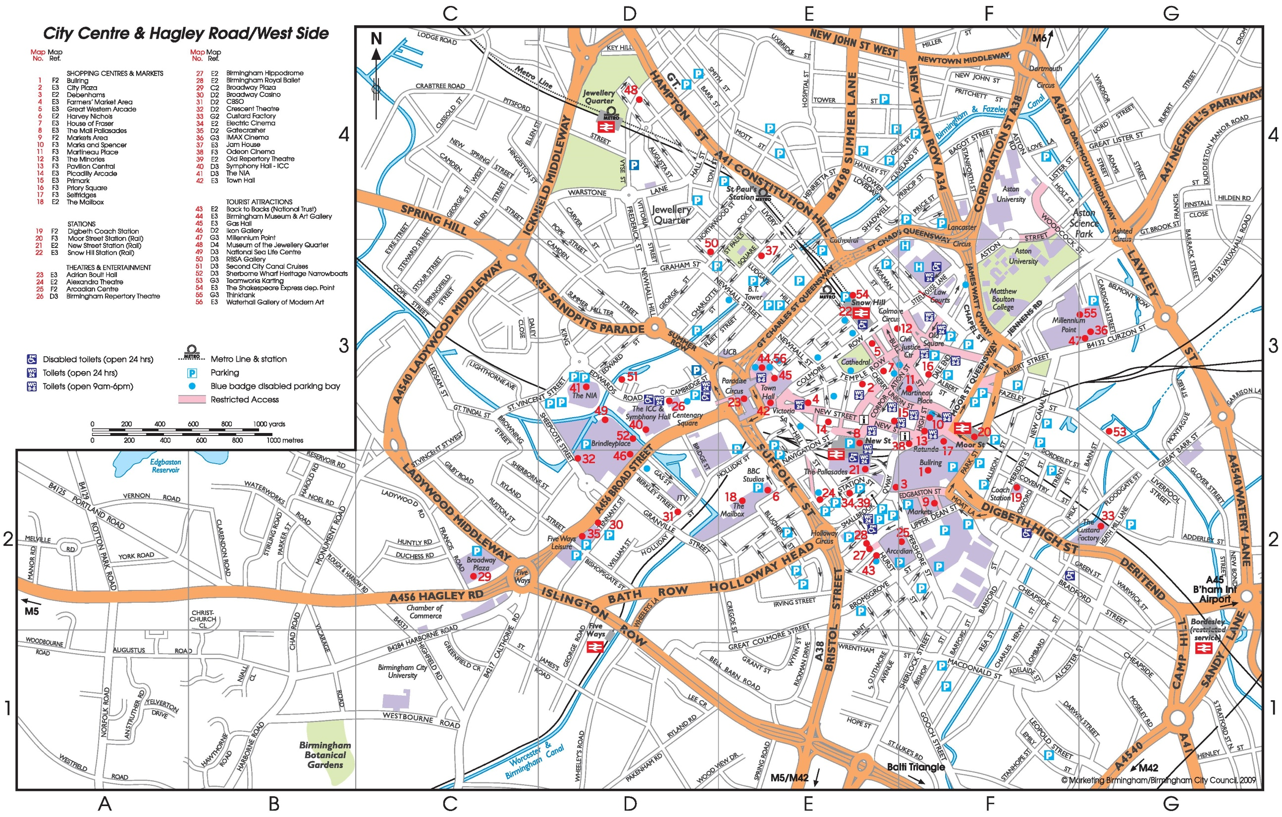 Birmingham tourist map – Birmingham Tourist Map
