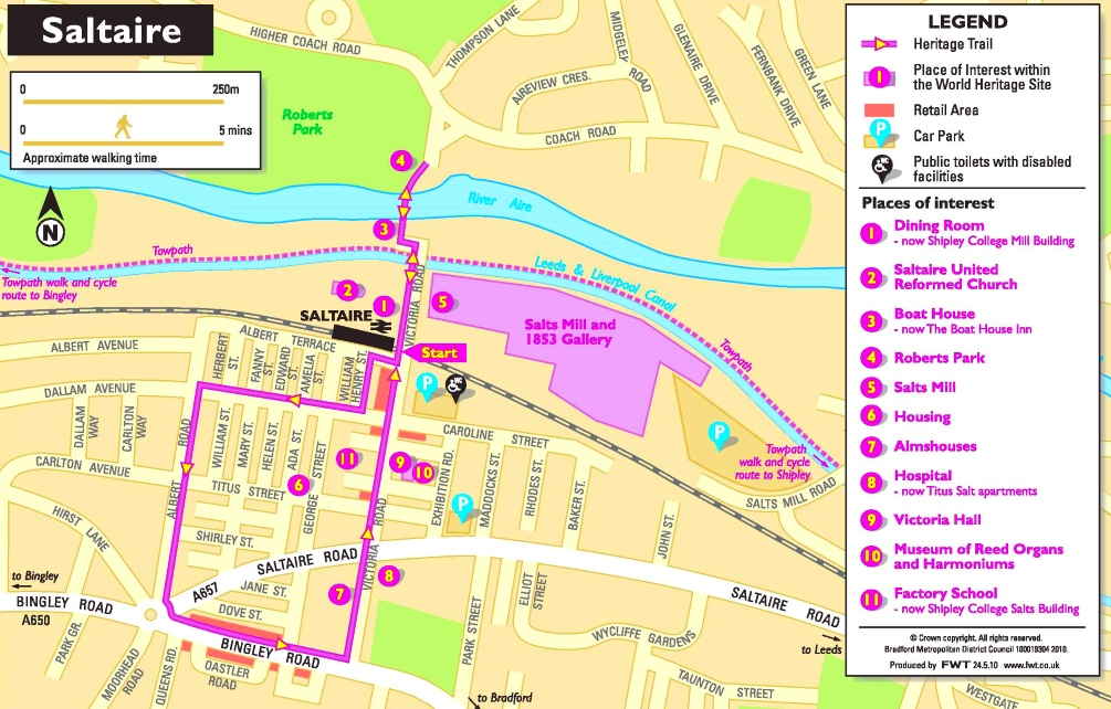 Saltaire tourist map