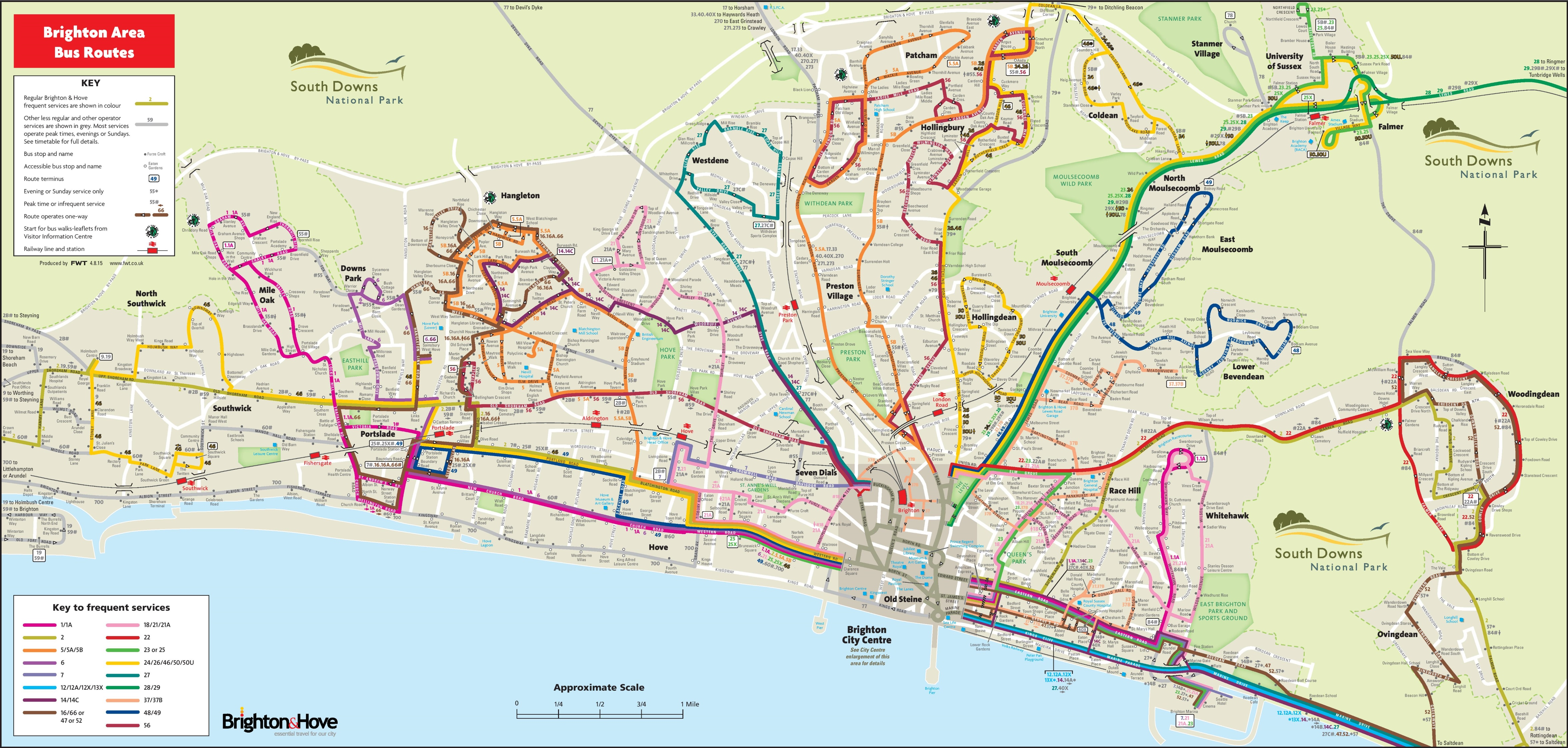 Brighton Bus Map Brighton bus map