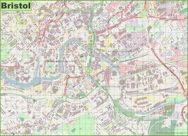 Large detailed map of Bristol