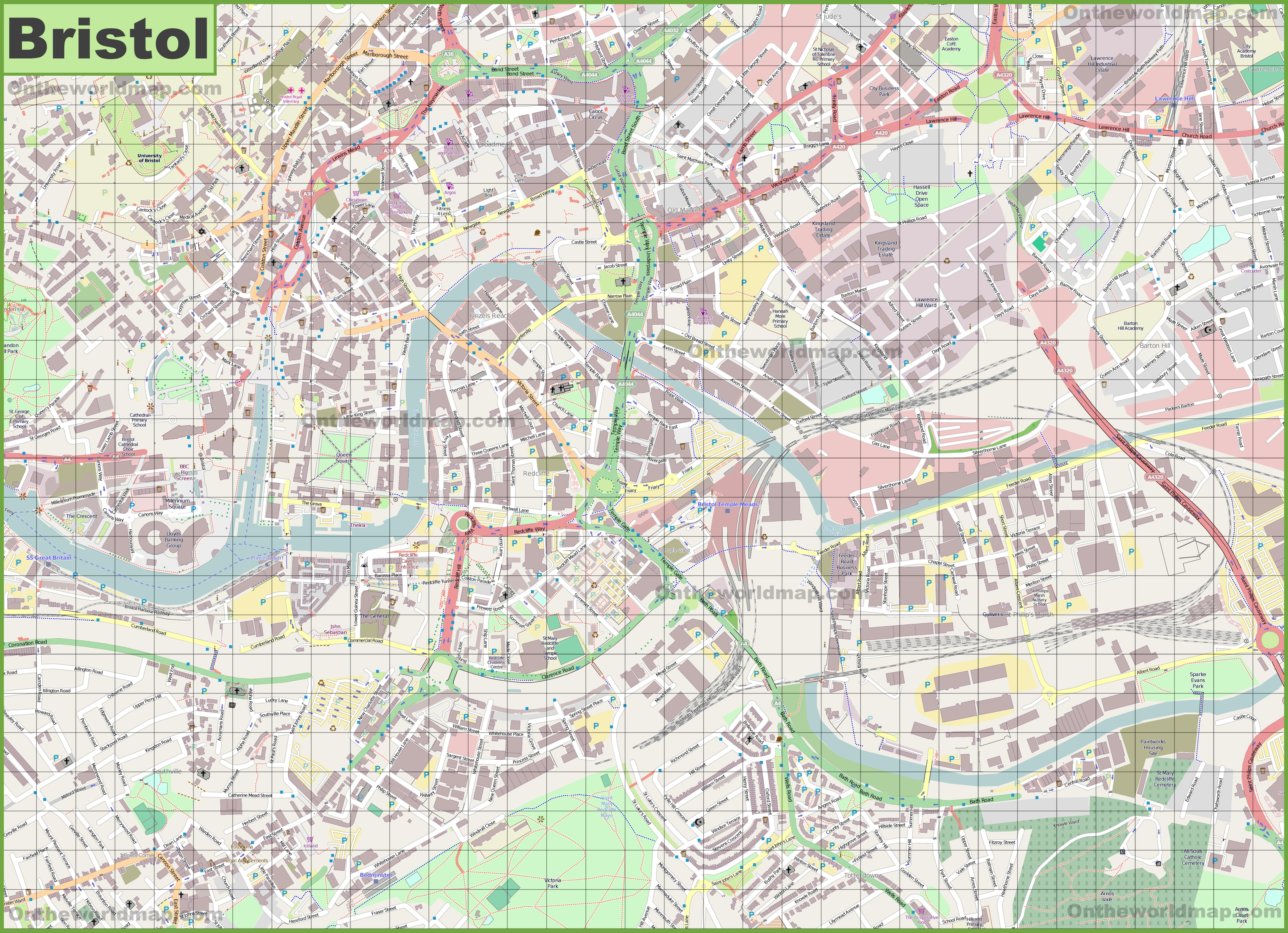 Map Of Bristol Large detailed map of Bristol Map Of Bristol