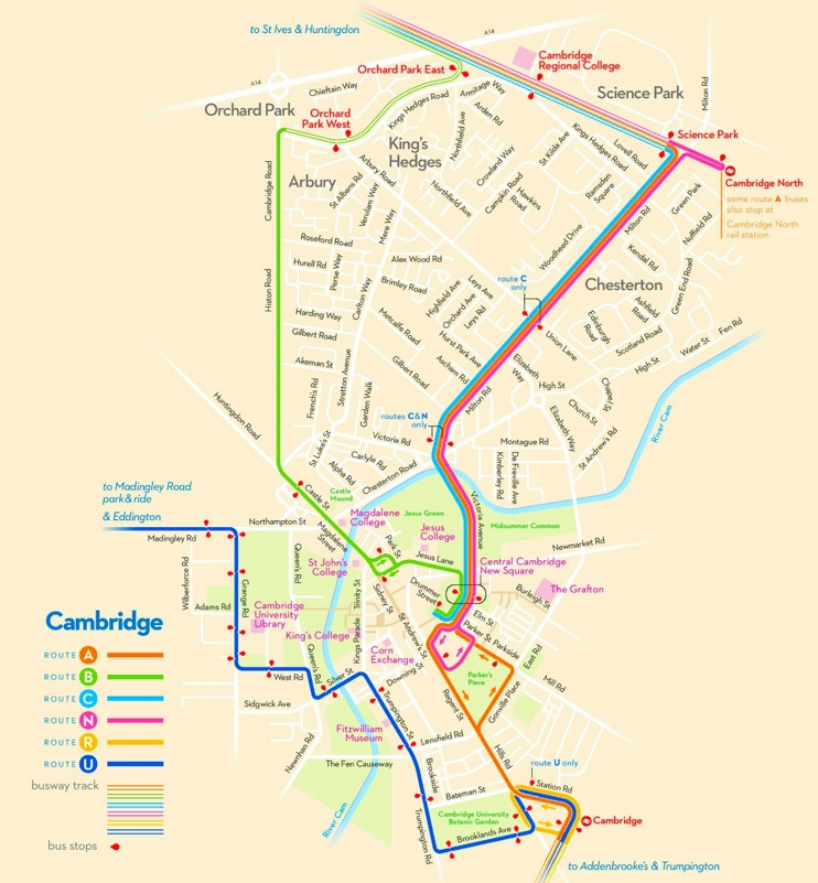 Cambridge bus map