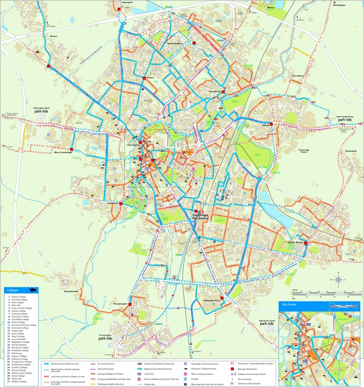 Cambridge cycling map