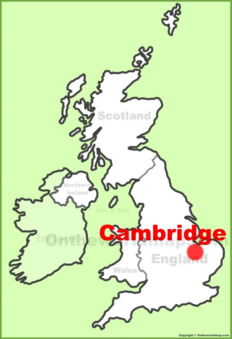 Cambridge location on the UK Map
