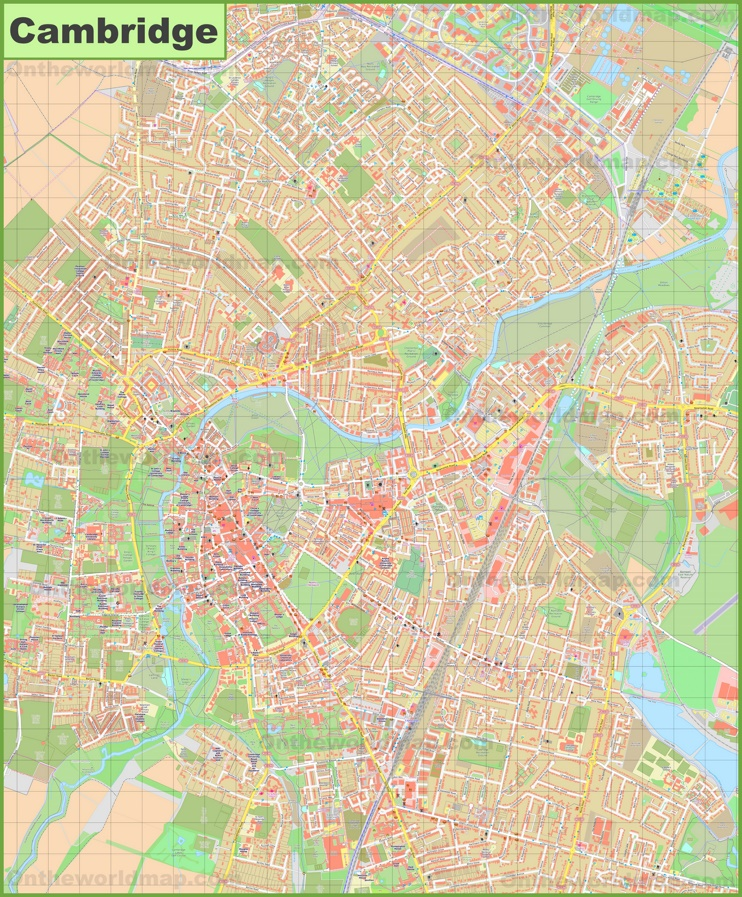 Detailed map of Cambridge