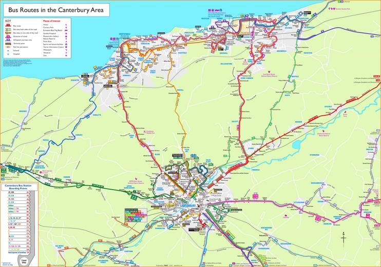Canterbury bus map