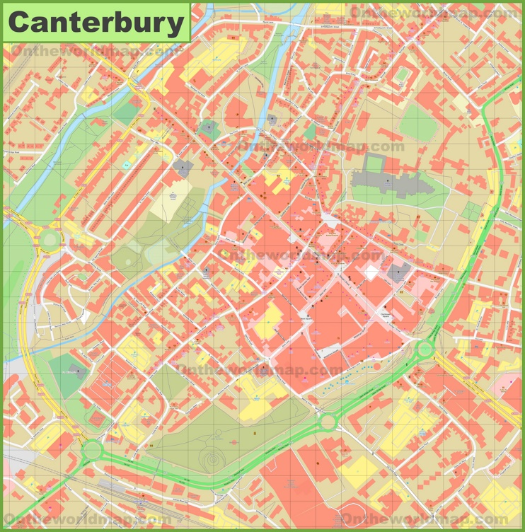 Canterbury city center map