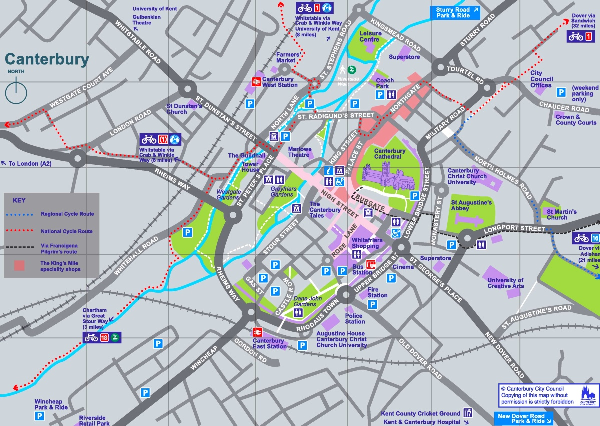 Canterbury sightseeing map
