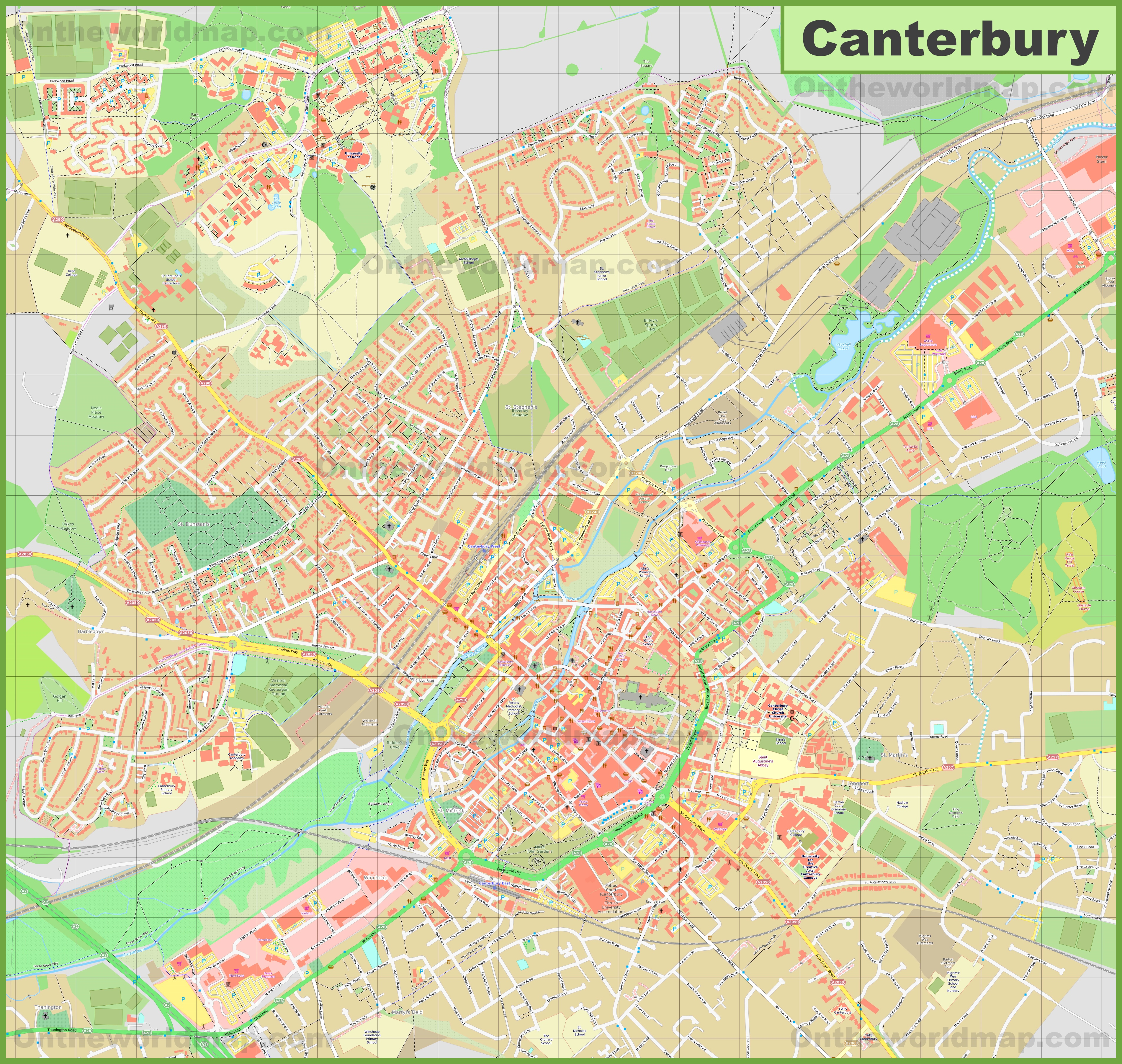 Detailed map of Canterbury