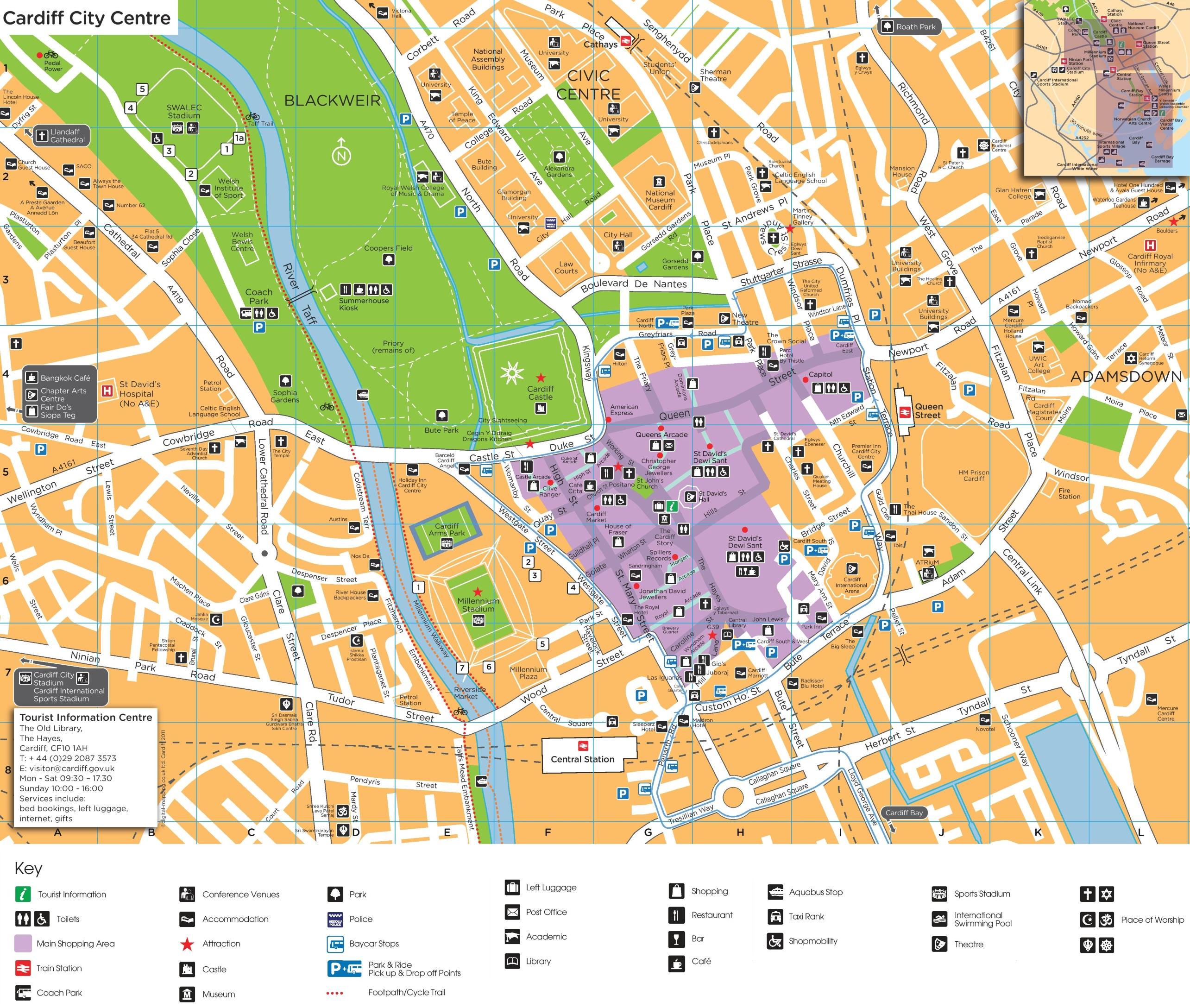 Map Of Cardiff Cardiff city center map Map Of Cardiff