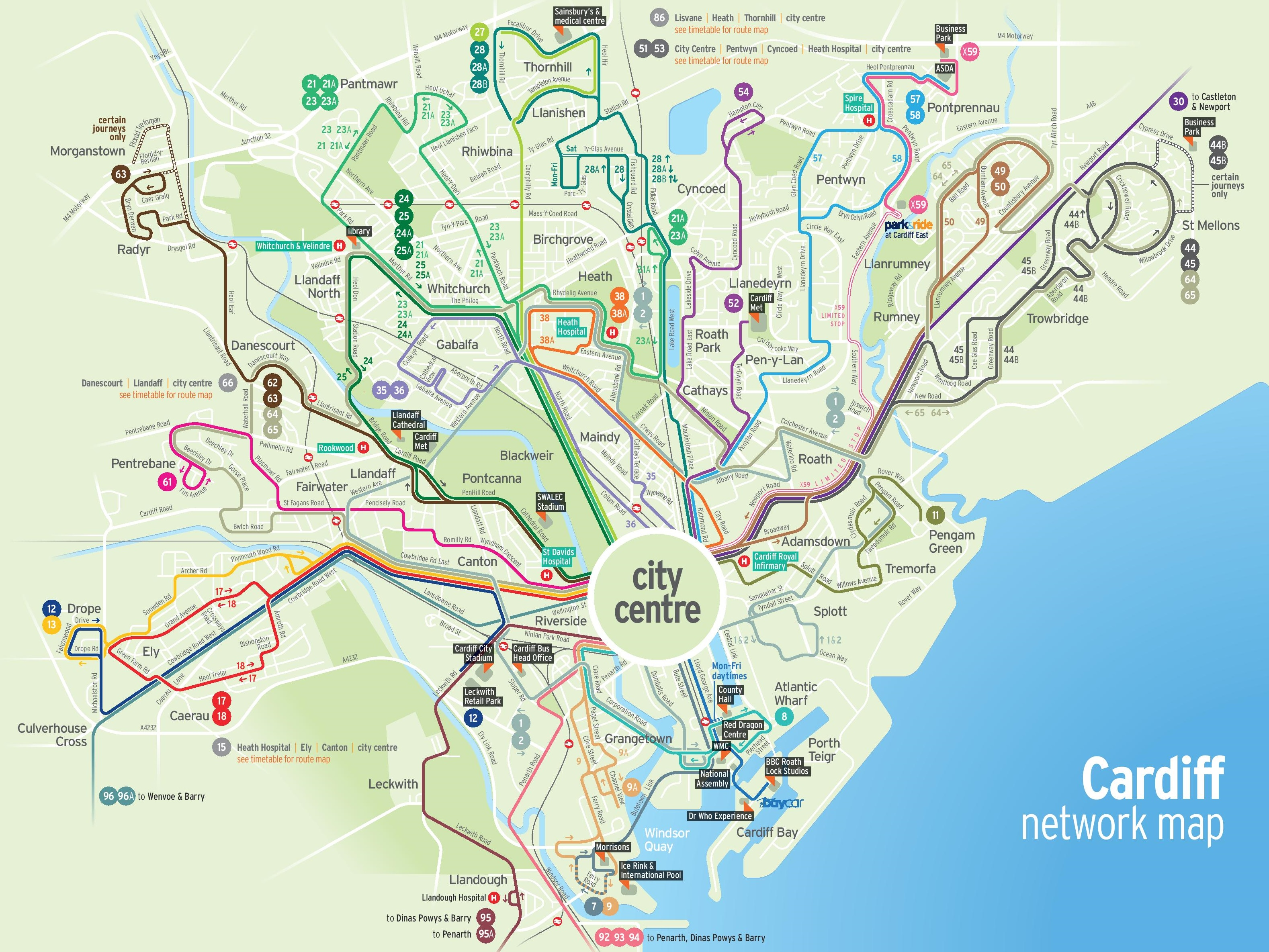 Cardiff City Map Cardiff transport map Cardiff City Map