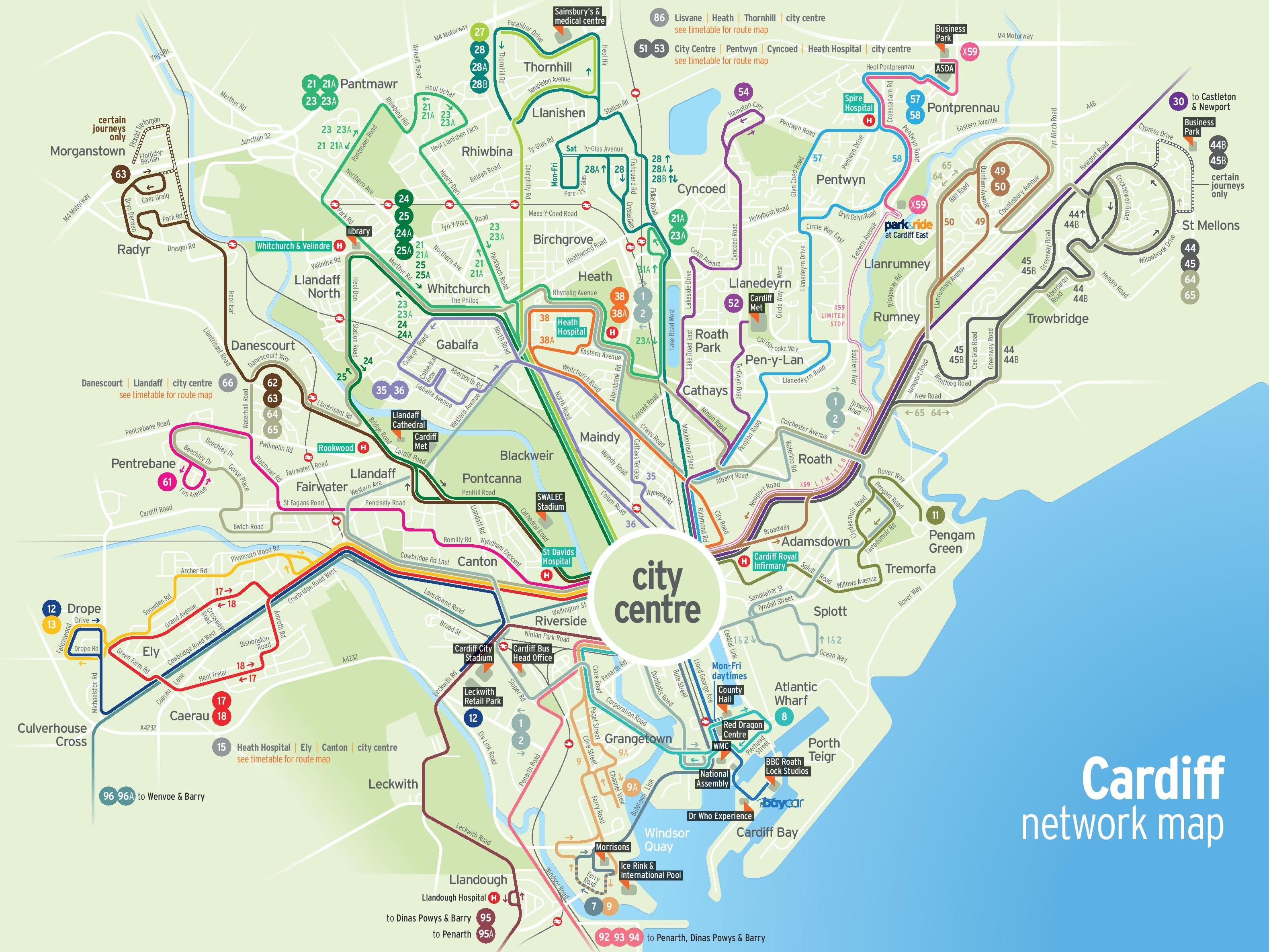 Cardiff transport map