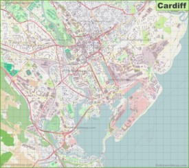 Large detailed map of Cardiff