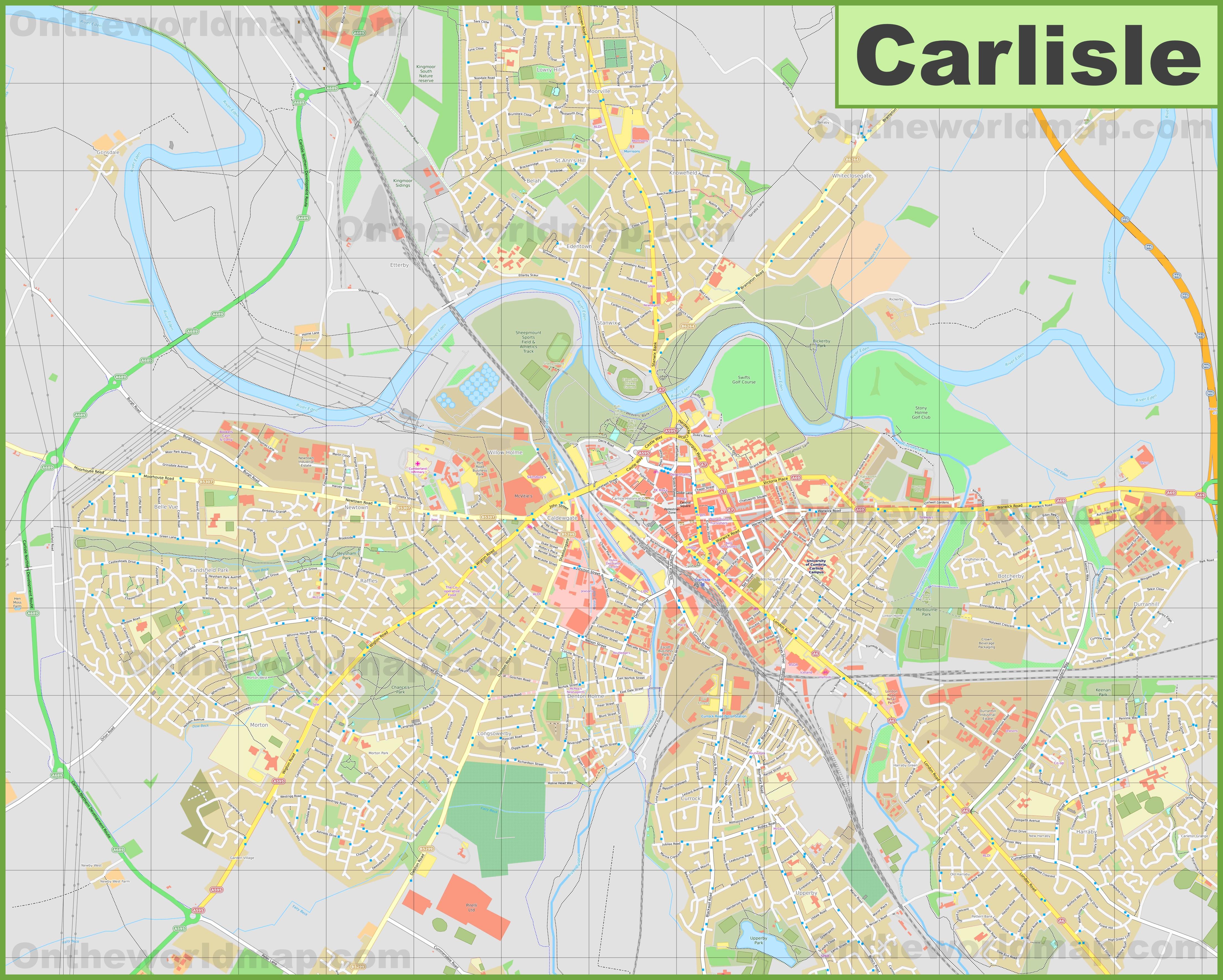 Detailed map of Carlisle