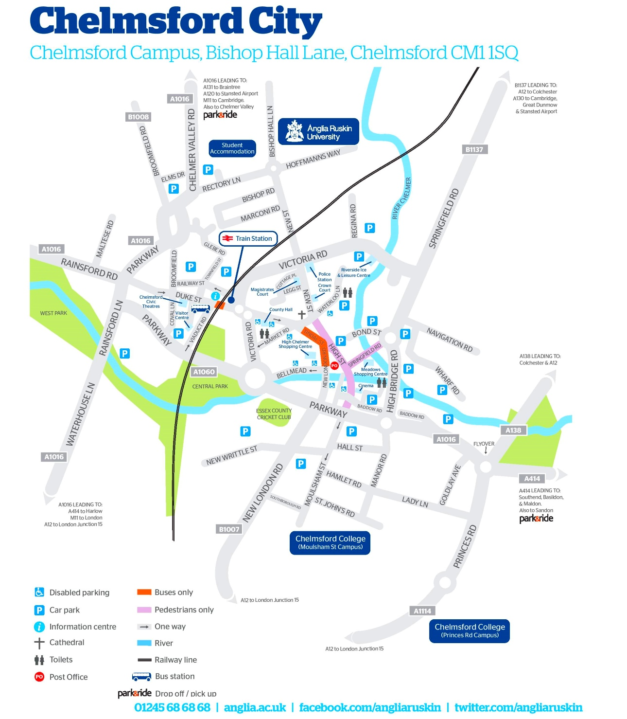 Chelmsford tourist map