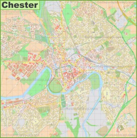 Detailed map of Chester