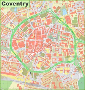 Coventry city center map