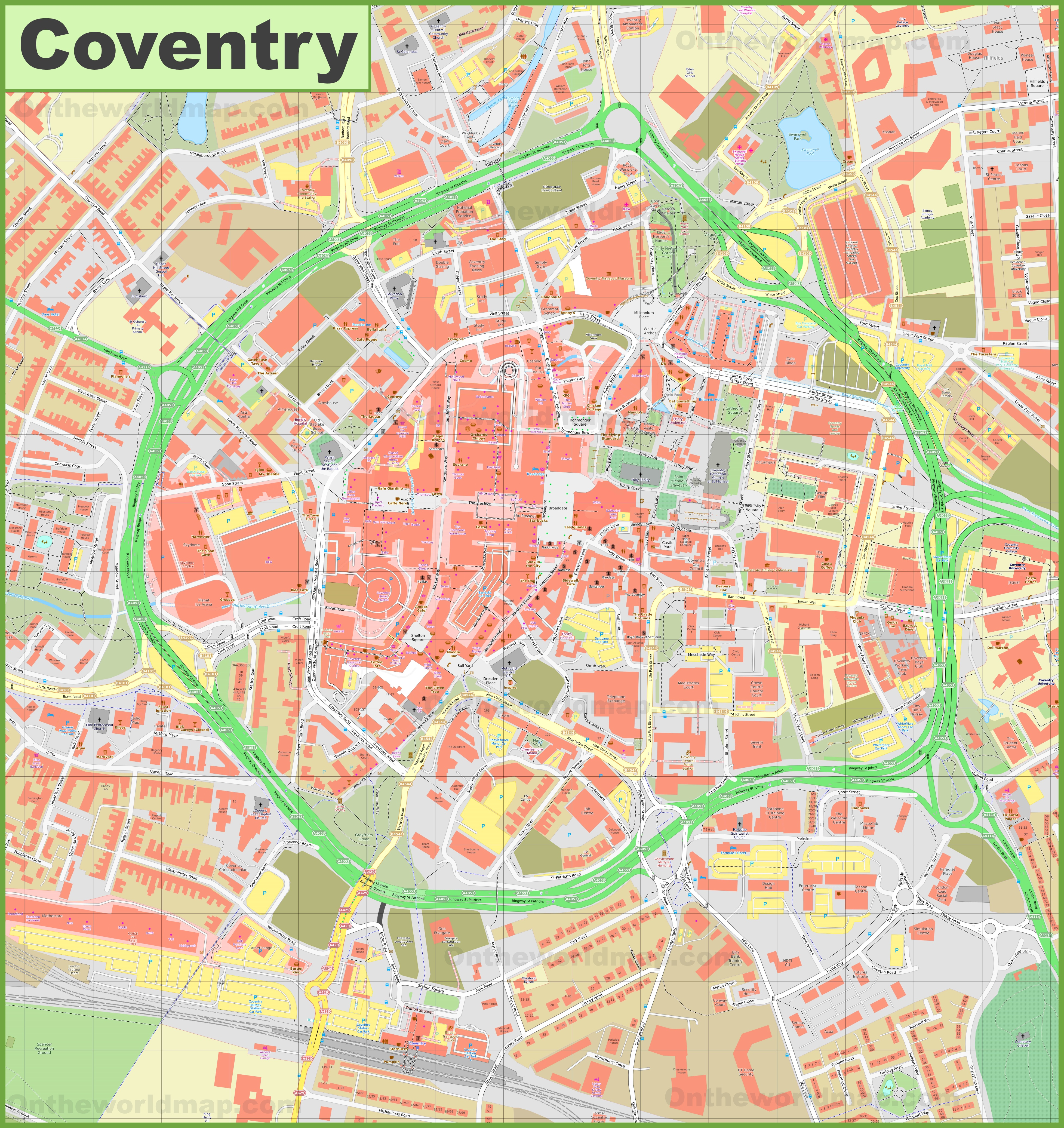 Coventry City Centre Map Coventry city center map Coventry City Centre Map
