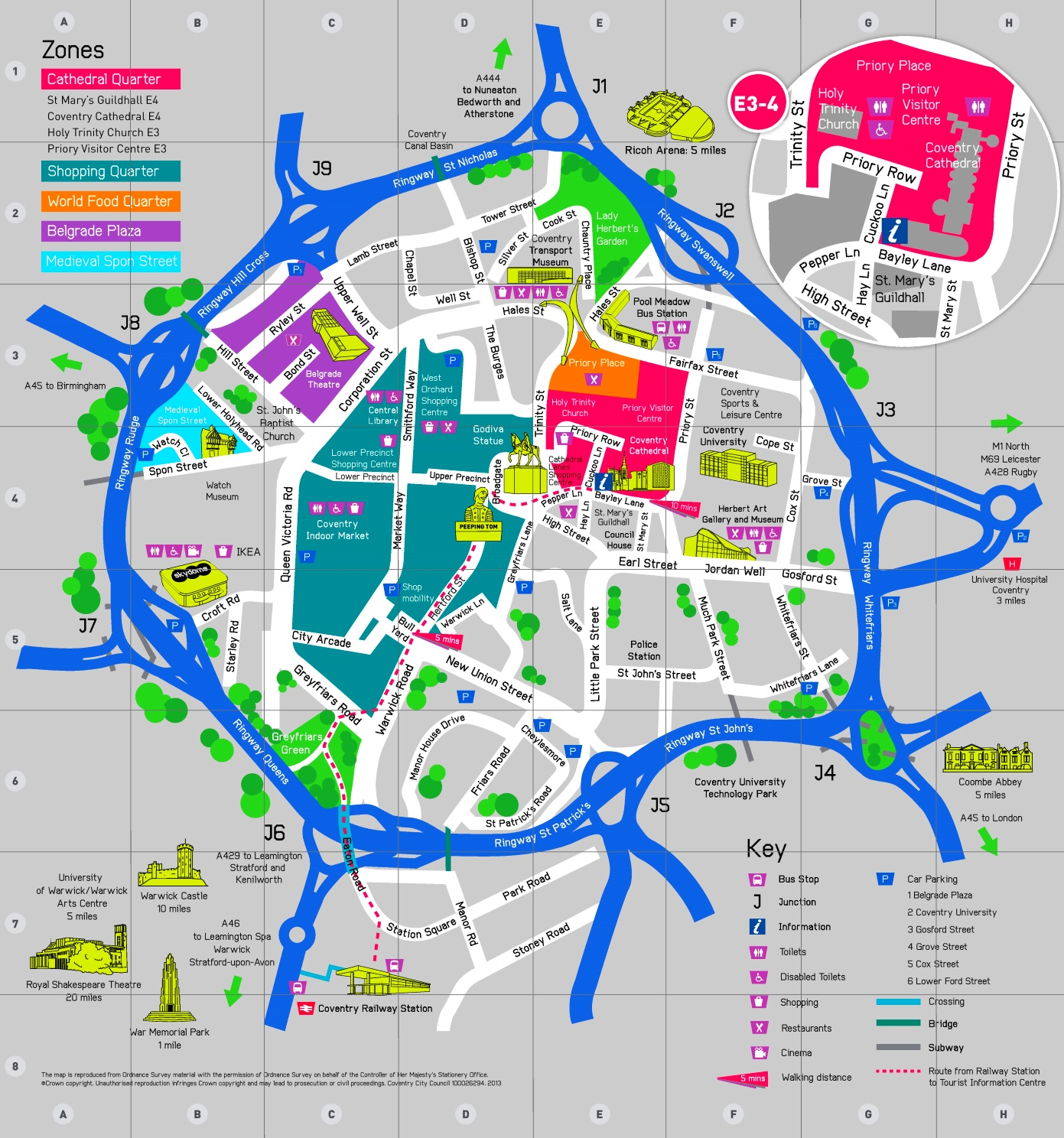 Map Of Coventry Coventry sightseeing map