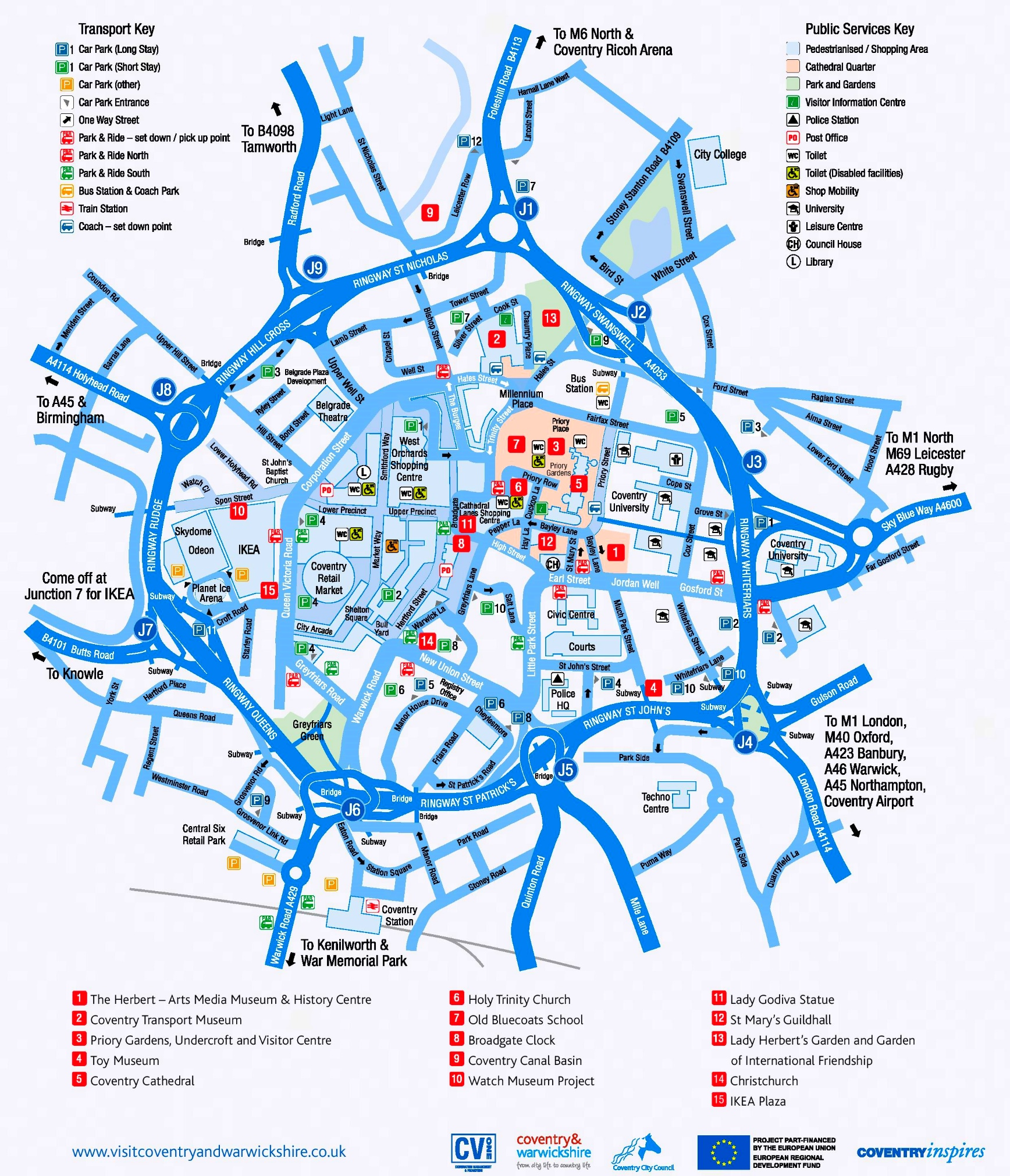 Coventry tourist map