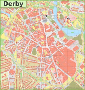 Derby city center map