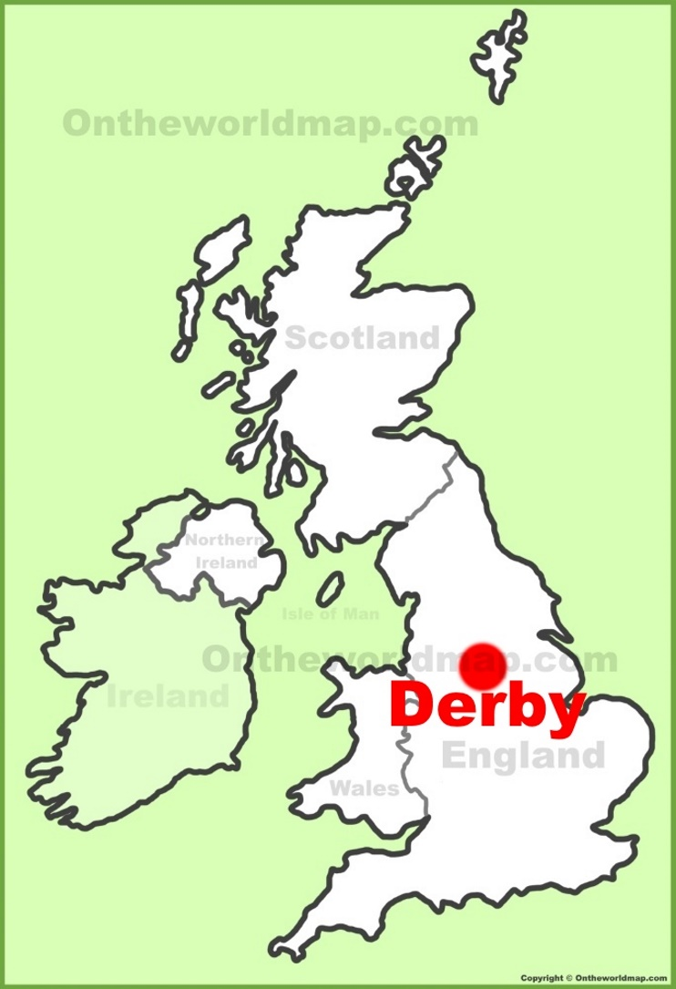 Derby location on the UK Map