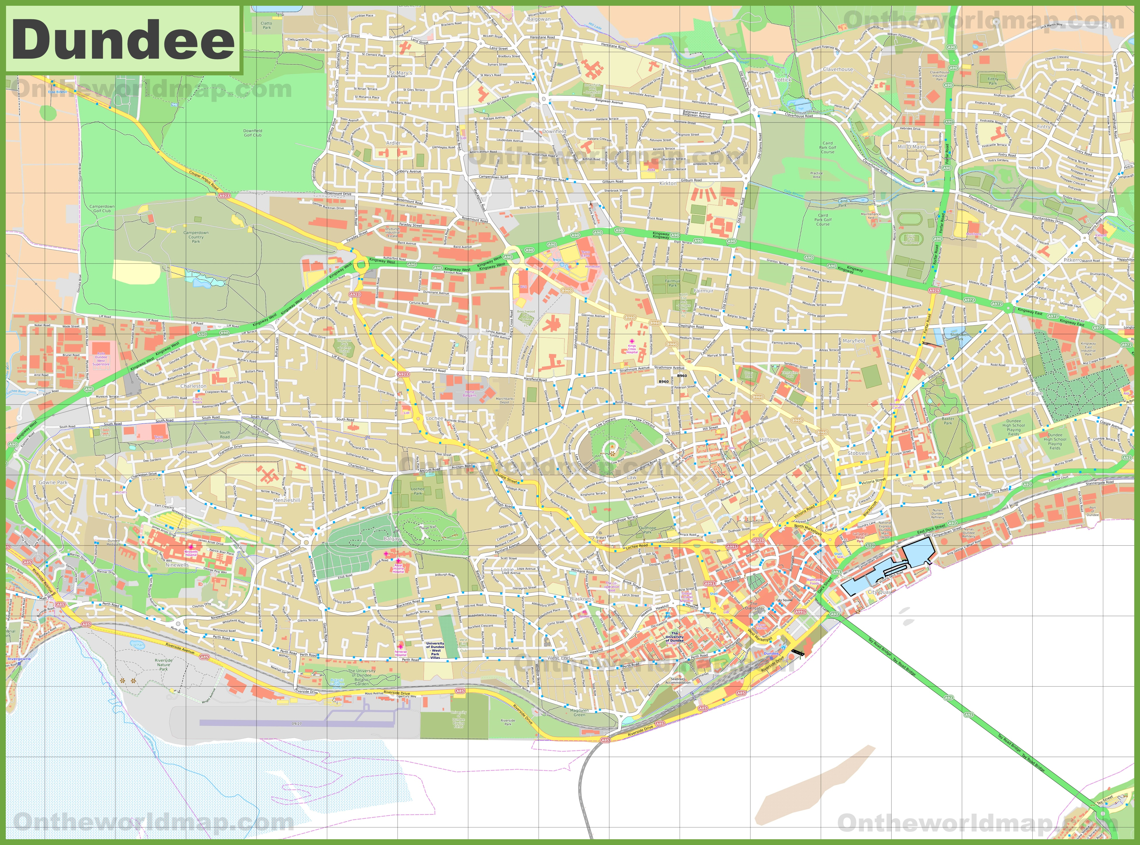 Detailed map of Dundee