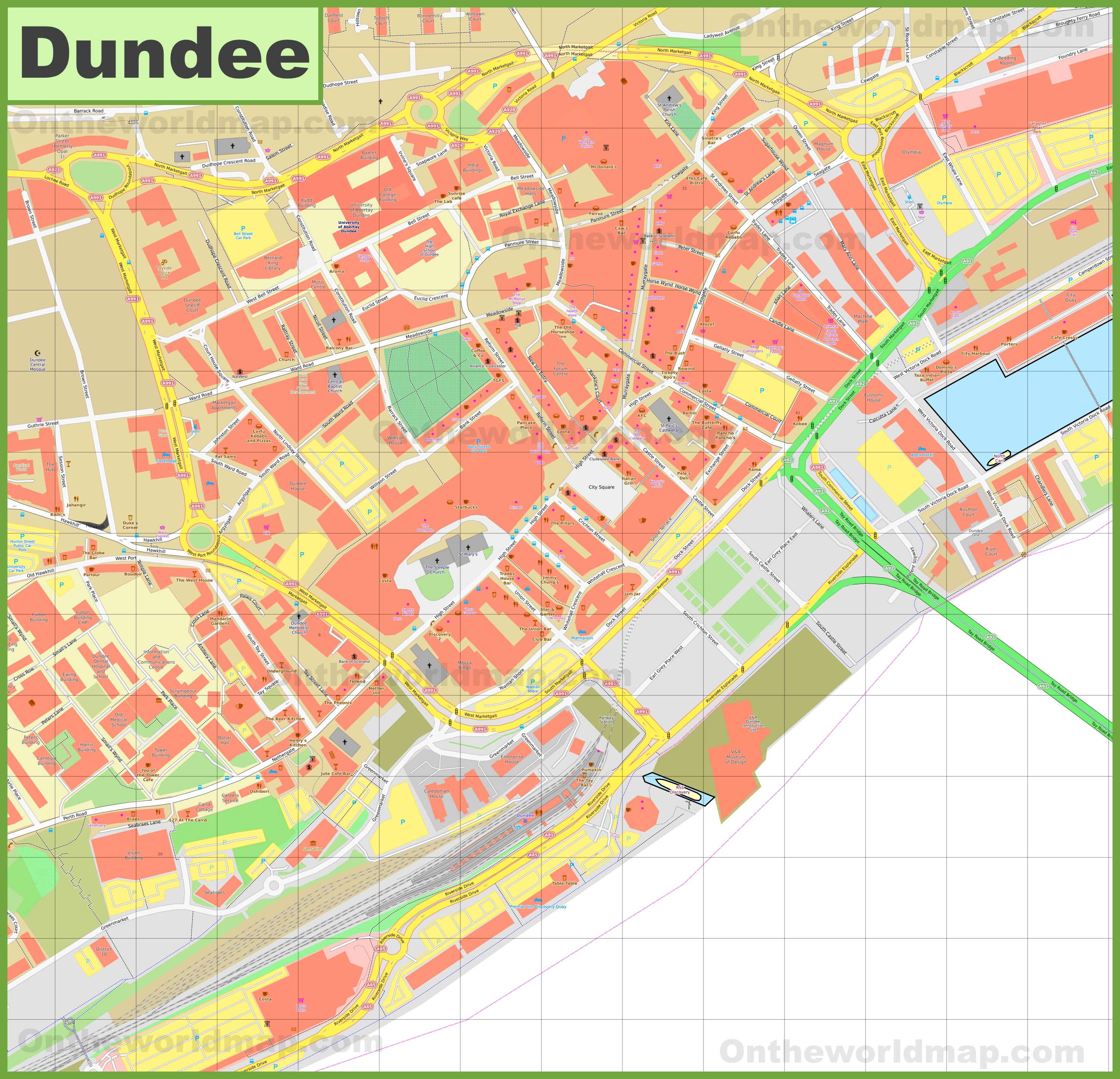 Dundee city center map