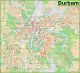 Detailed map of Durham