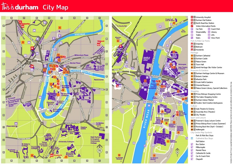 Durham tourist map