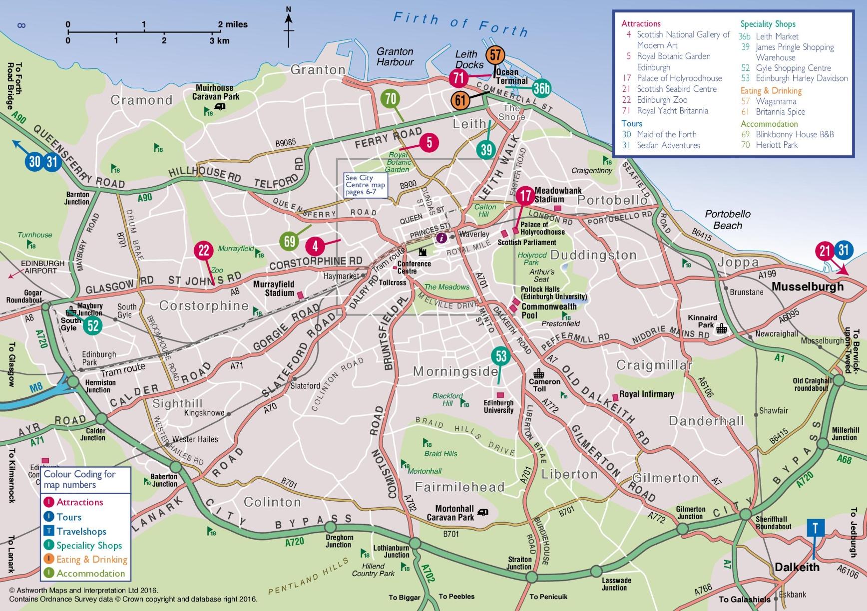 Edinburgh area map