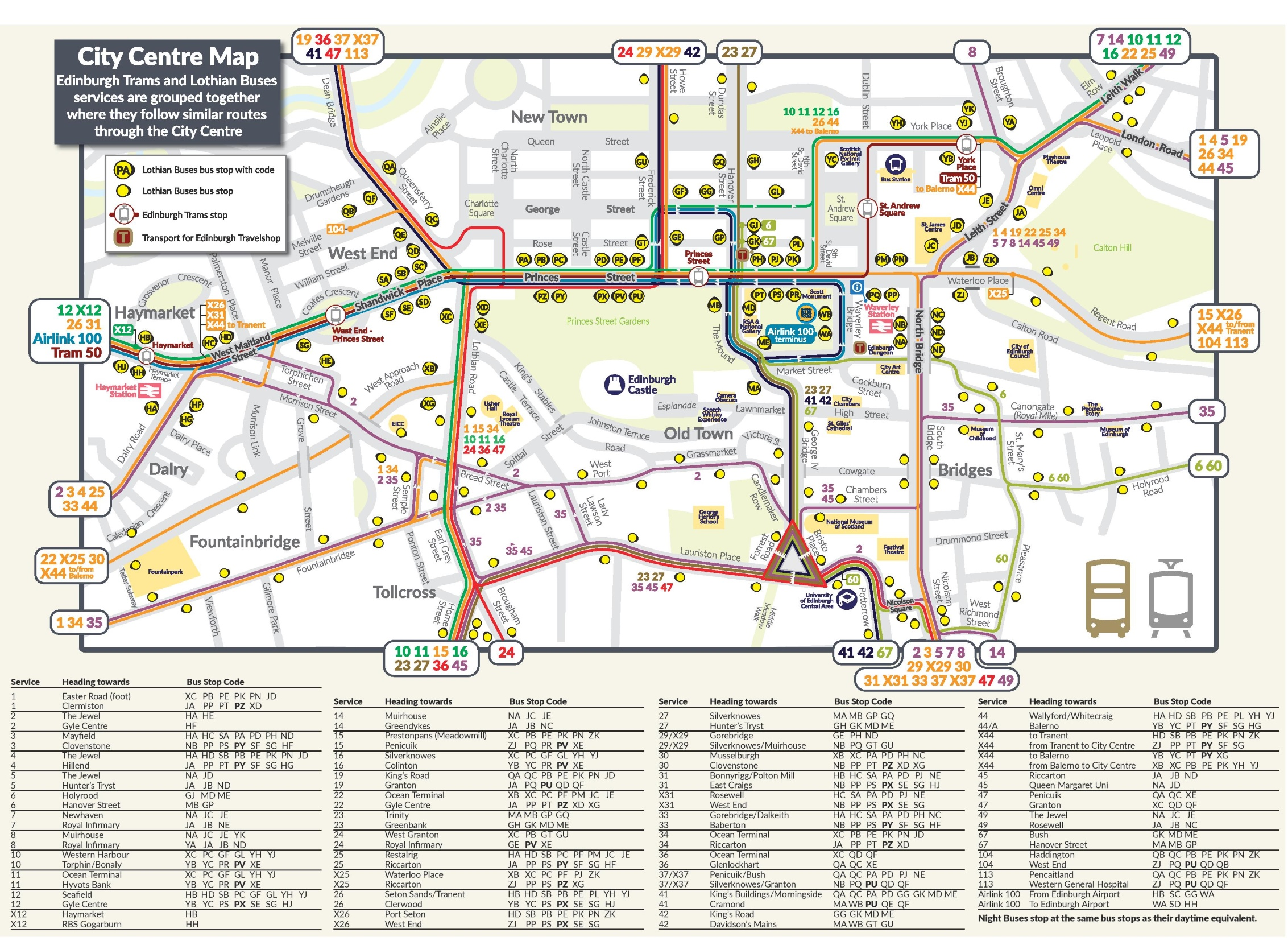 Edinburgh tram and bus map