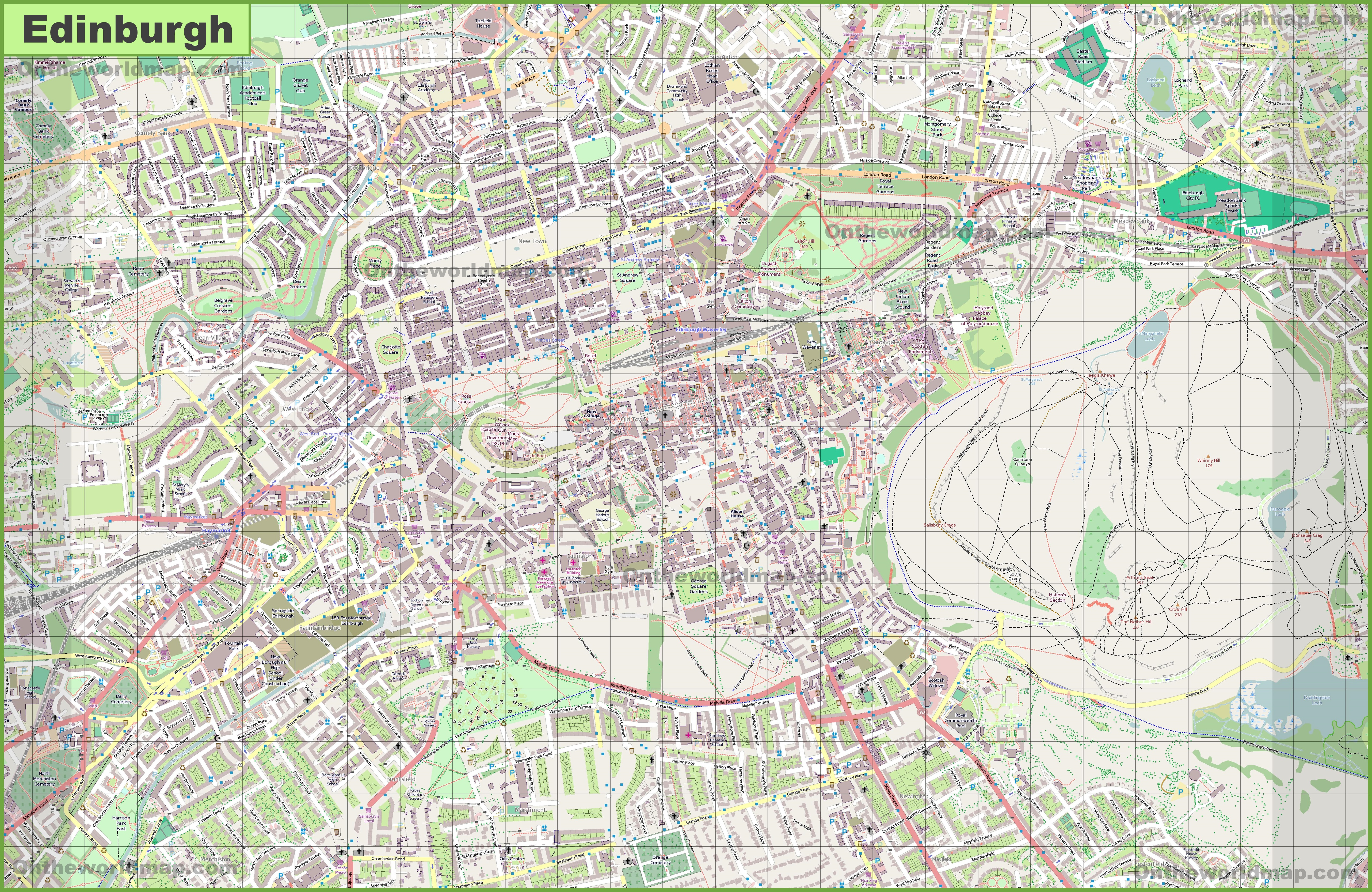 Large detailed map of Edinburgh