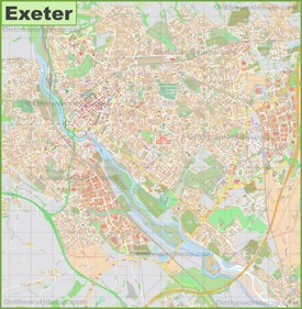 Detailed map of Exeter