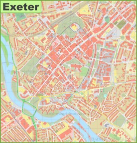 Exeter city center map
