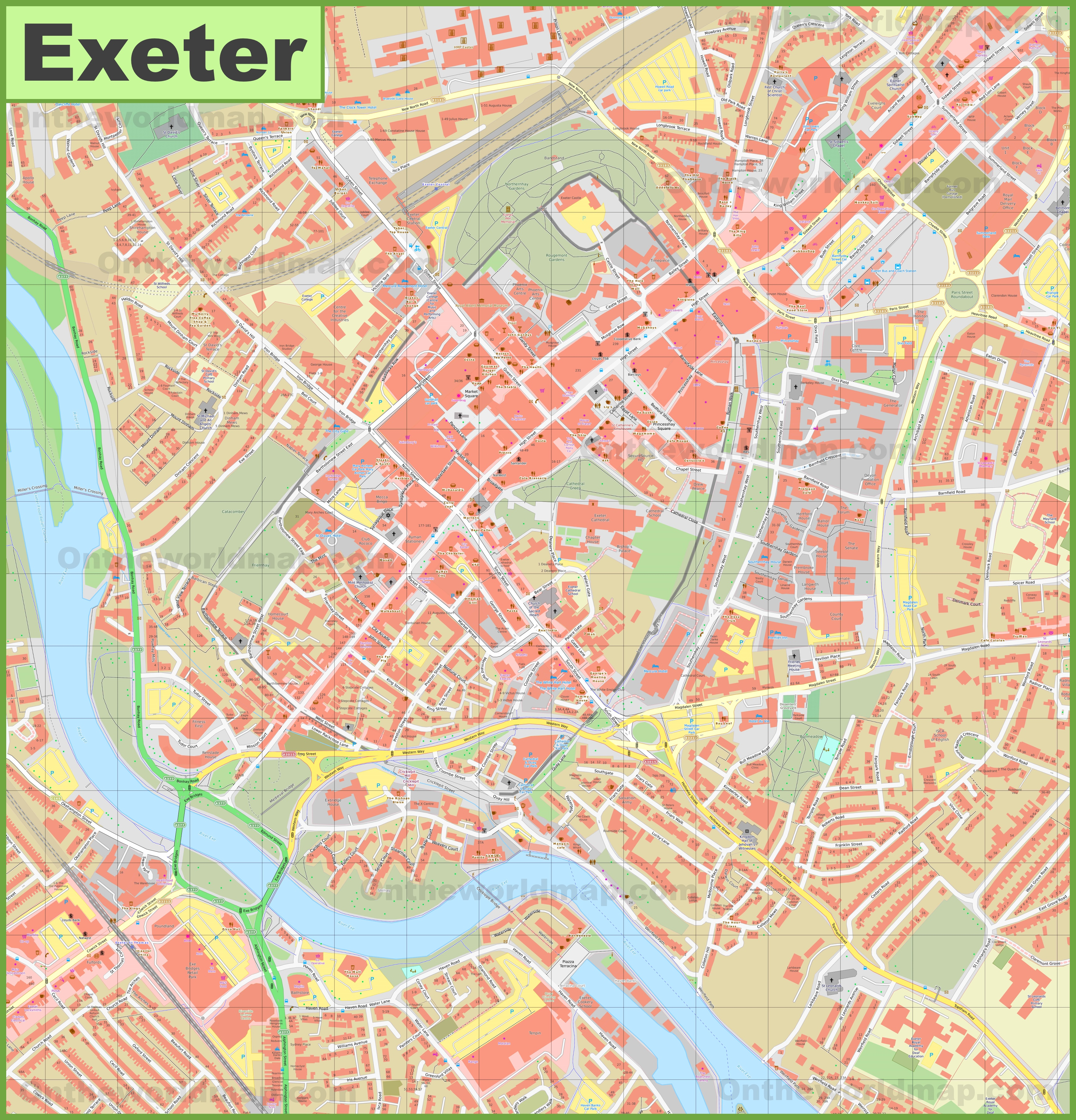 Map Of Exeter Exeter city center map Map Of Exeter