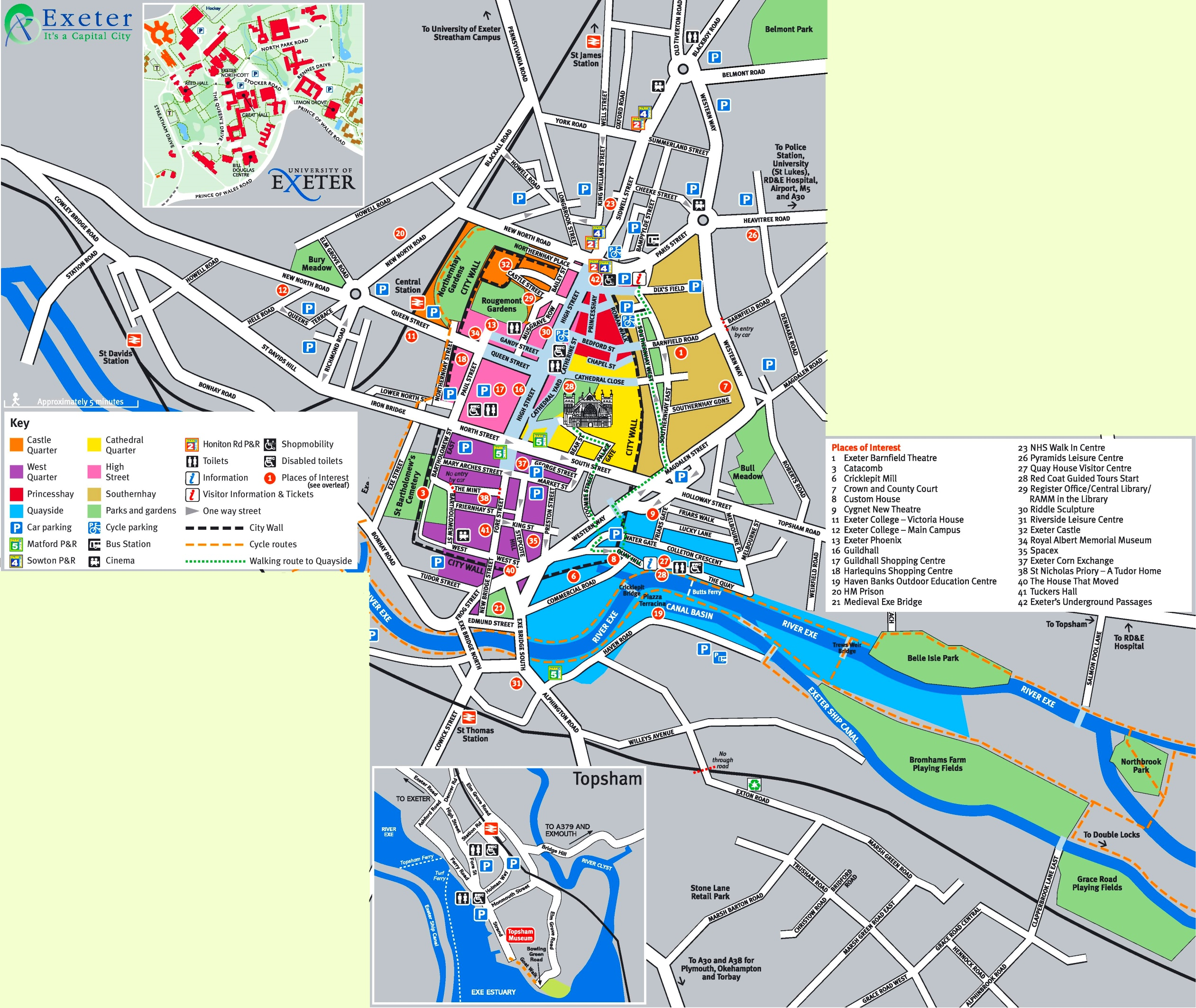 Exeter tourist map
