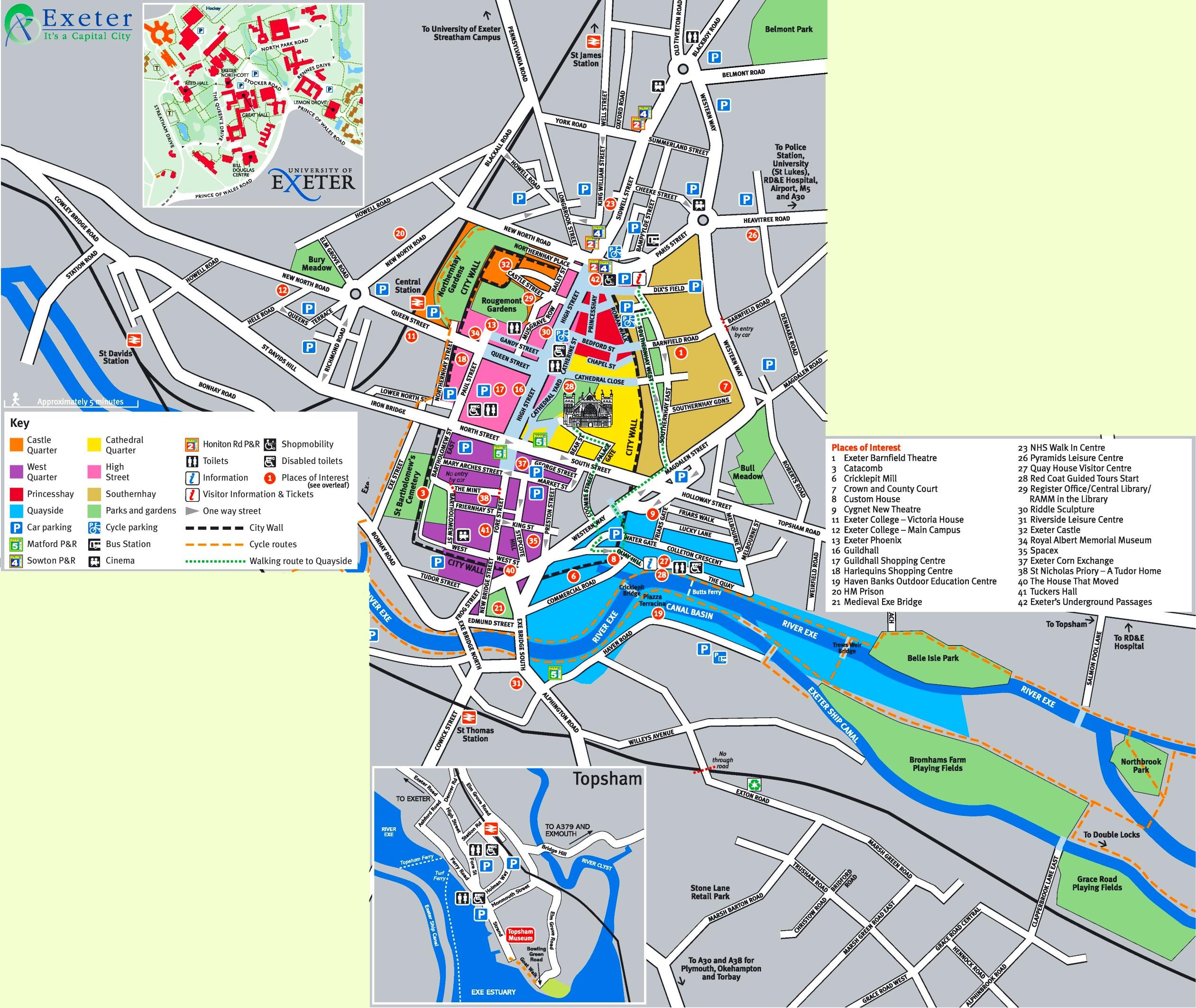 Map Of Exeter Exeter tourist map Map Of Exeter