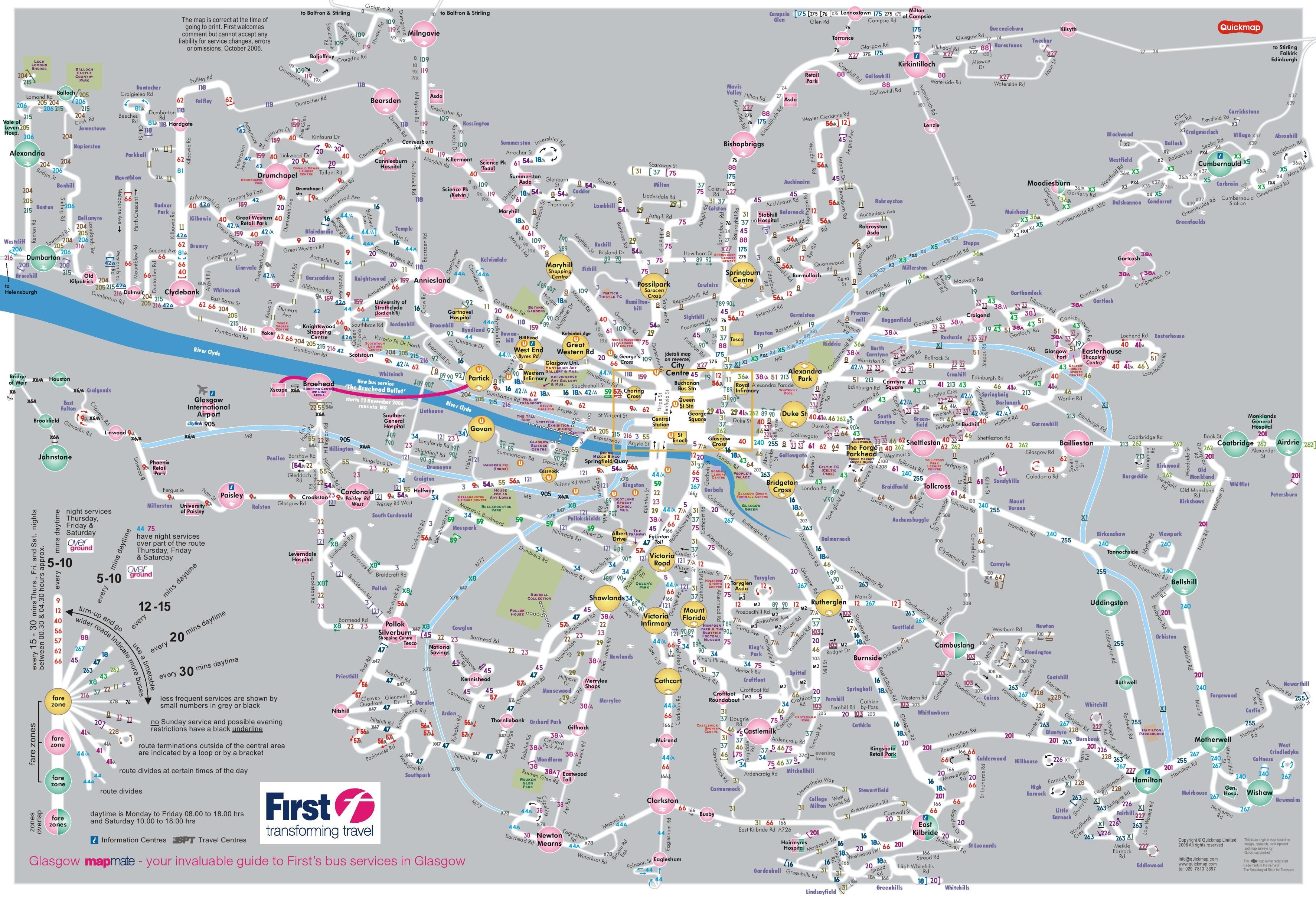 Glasgow Bus Map Glasgow bus map Glasgow Bus Map