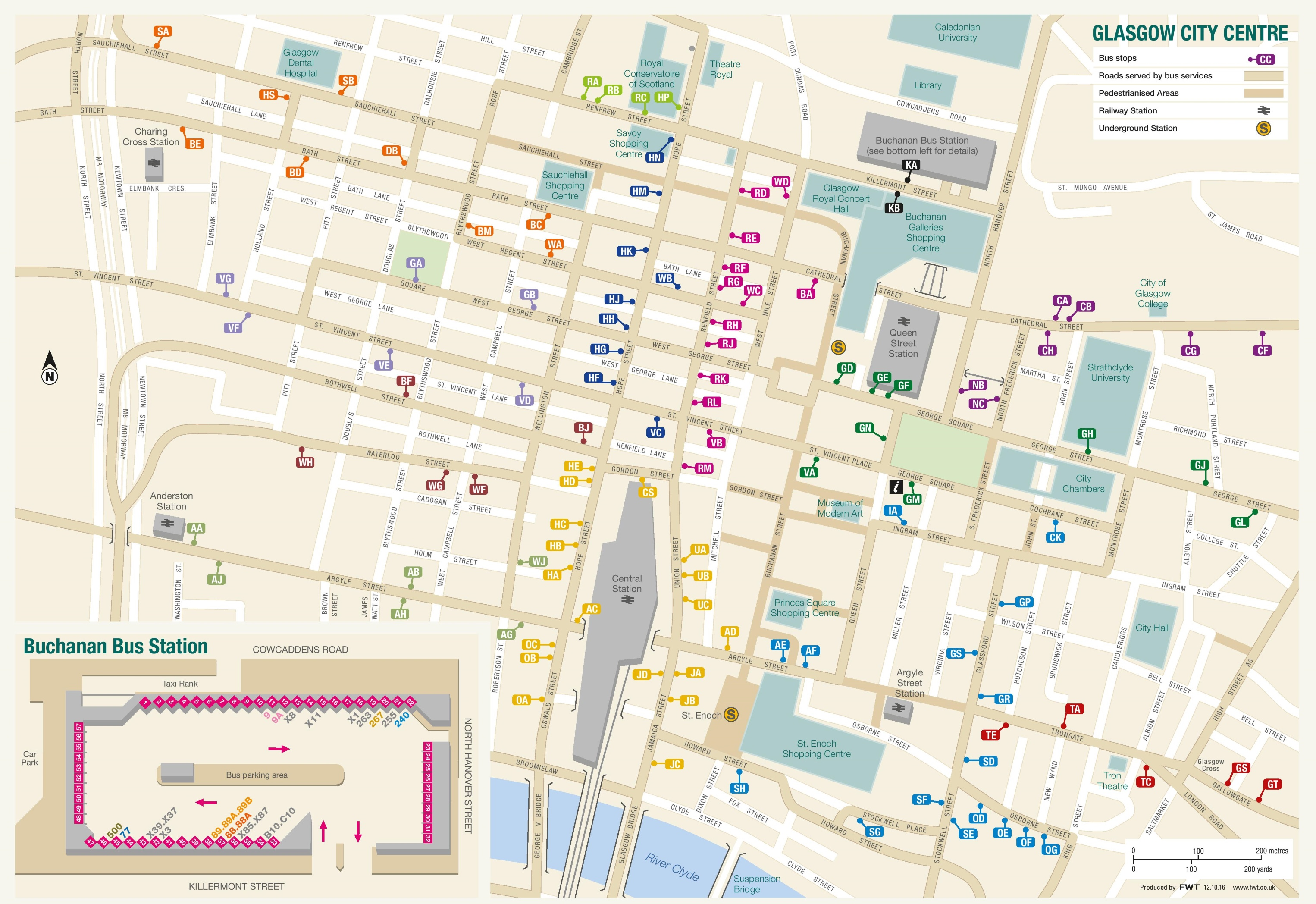 Map Of Glasgow Glasgow city center map Map Of Glasgow