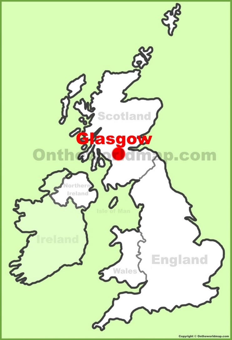 Glasgow location on the UK Map