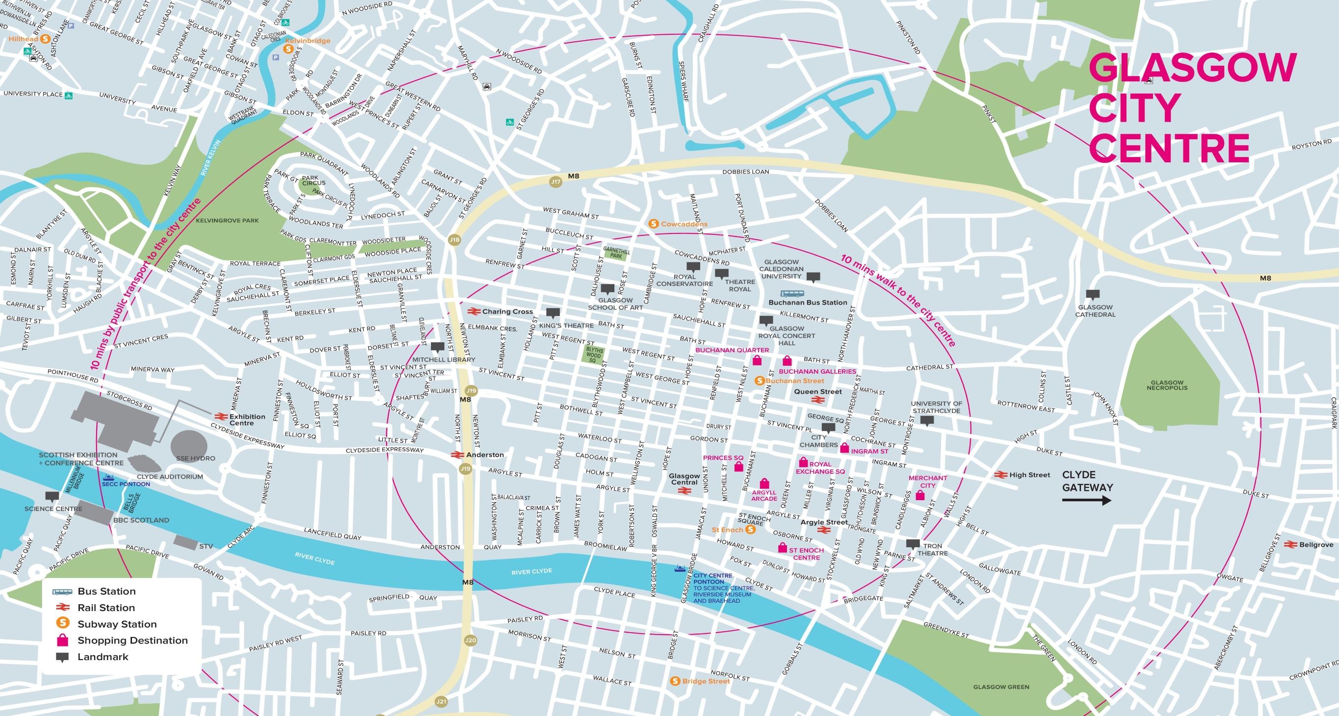 Map Of Glasgow Glasgow tourist map Map Of Glasgow