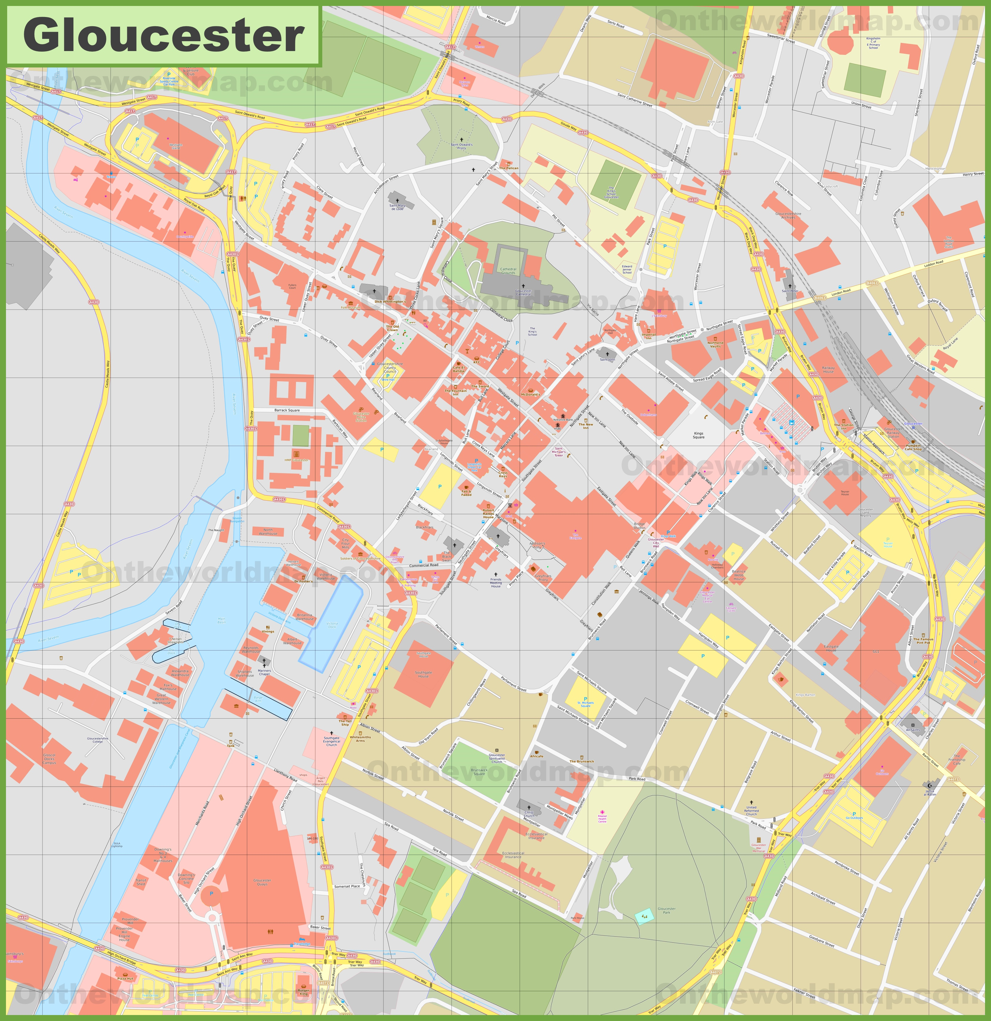 Map Of Uk Gloucester.Gloucester City Center Map